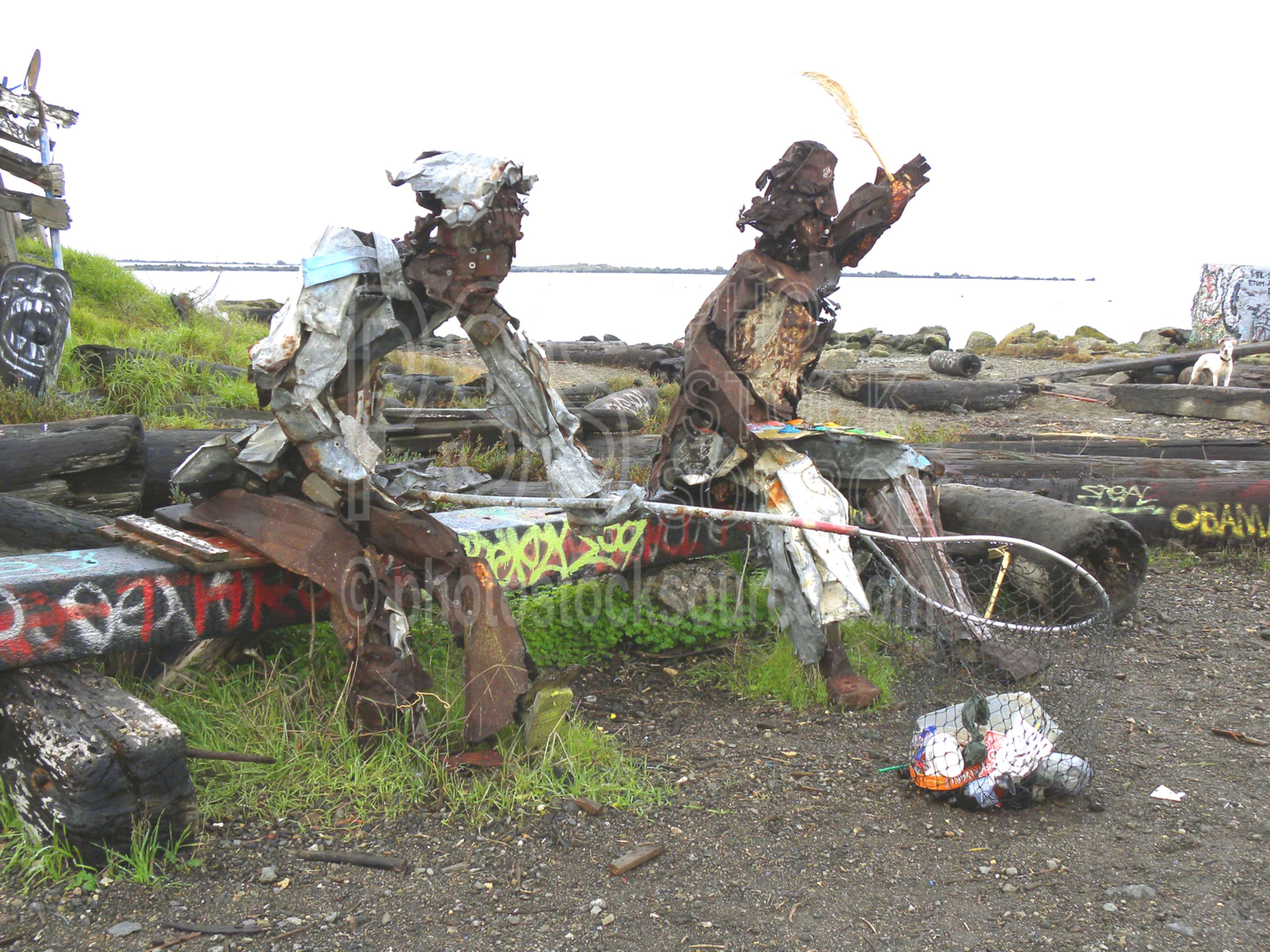 Twin Sculptures,sculpture,junk,dump,abstract,albany bulb,berkeley bulb