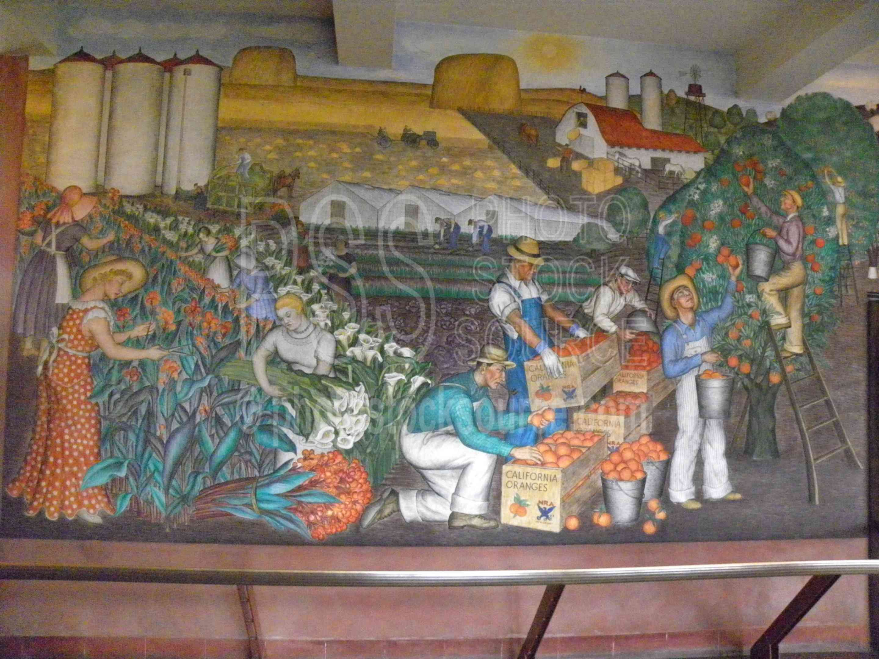 Coit Tower Murals,mural,painting,decoration,historic,frescoes