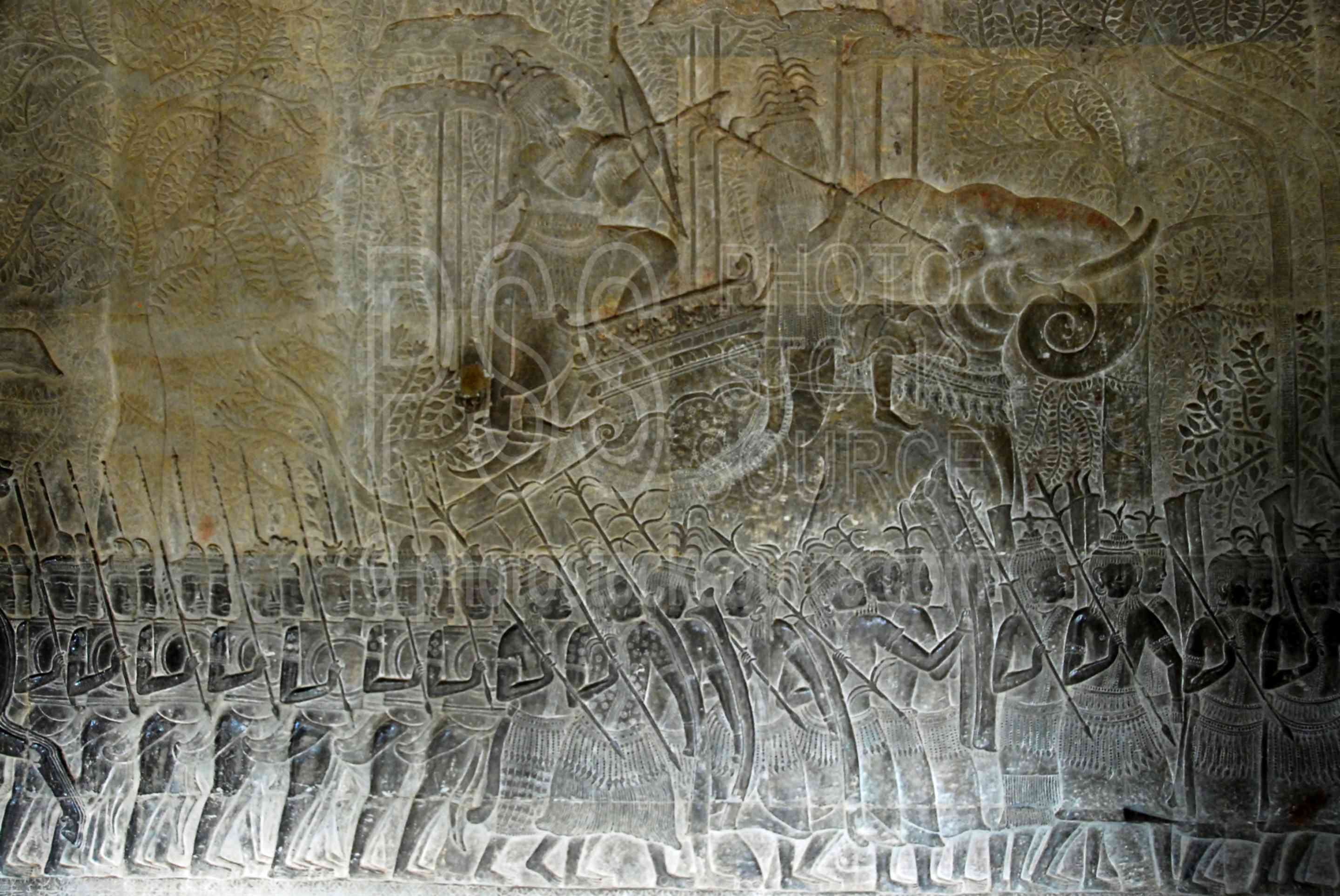 Photo of army of suryavarman ii by photo stock source for Bas relief mural