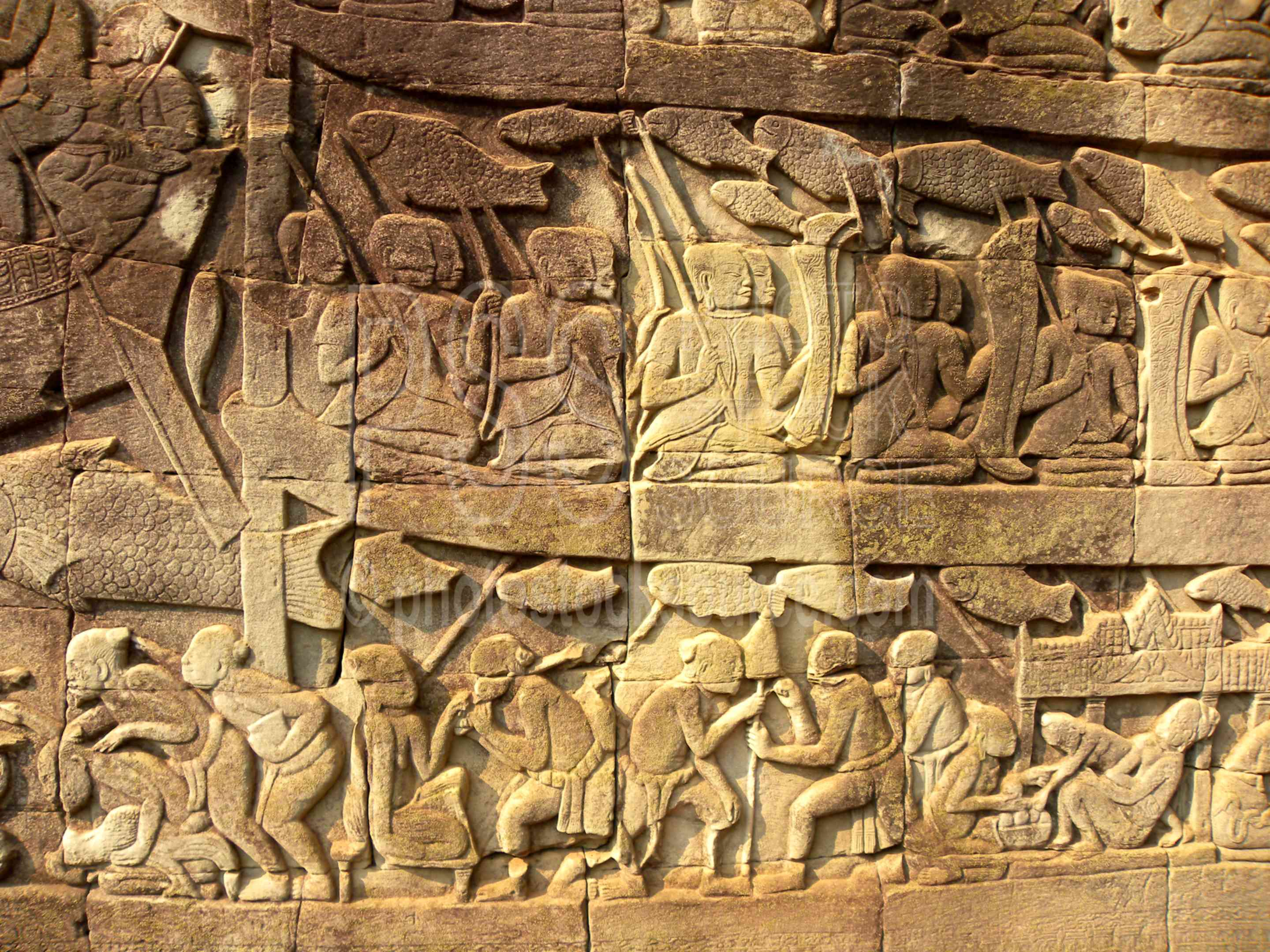 Photo of bayon bas relief carvings by stock source