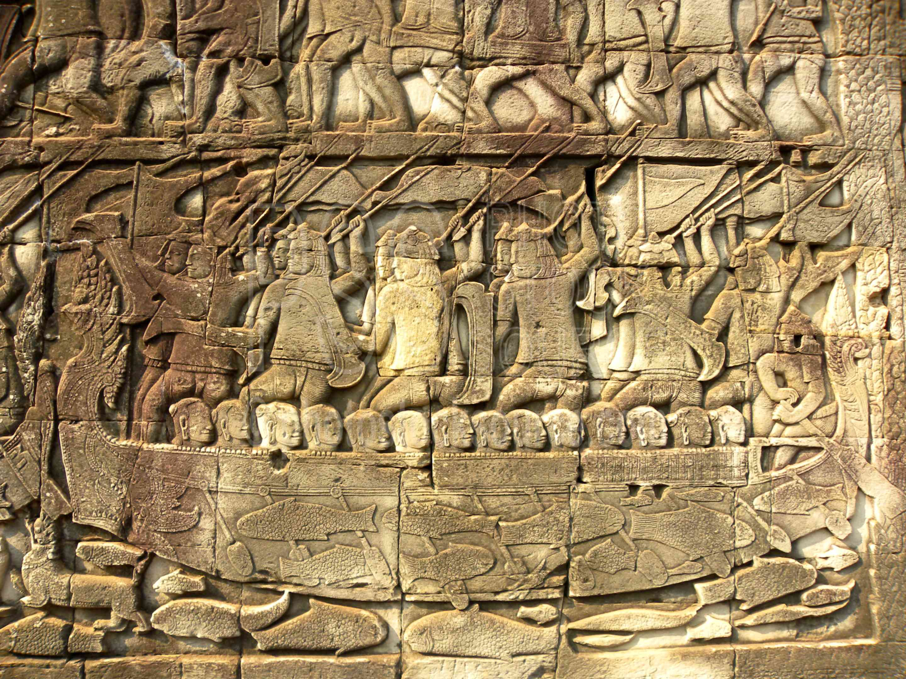 Bayon Bas-relief Carvings,temple,gate,statues,ruin,bas-relief,carving,wall,bayon