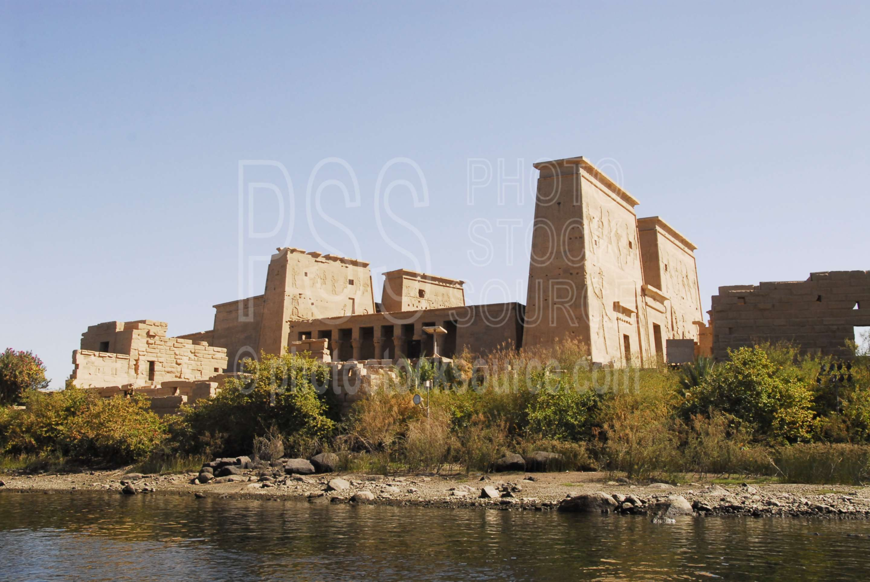 Approaching Philae Temple,water,lake,temple,lakes rivers,architecture,temples