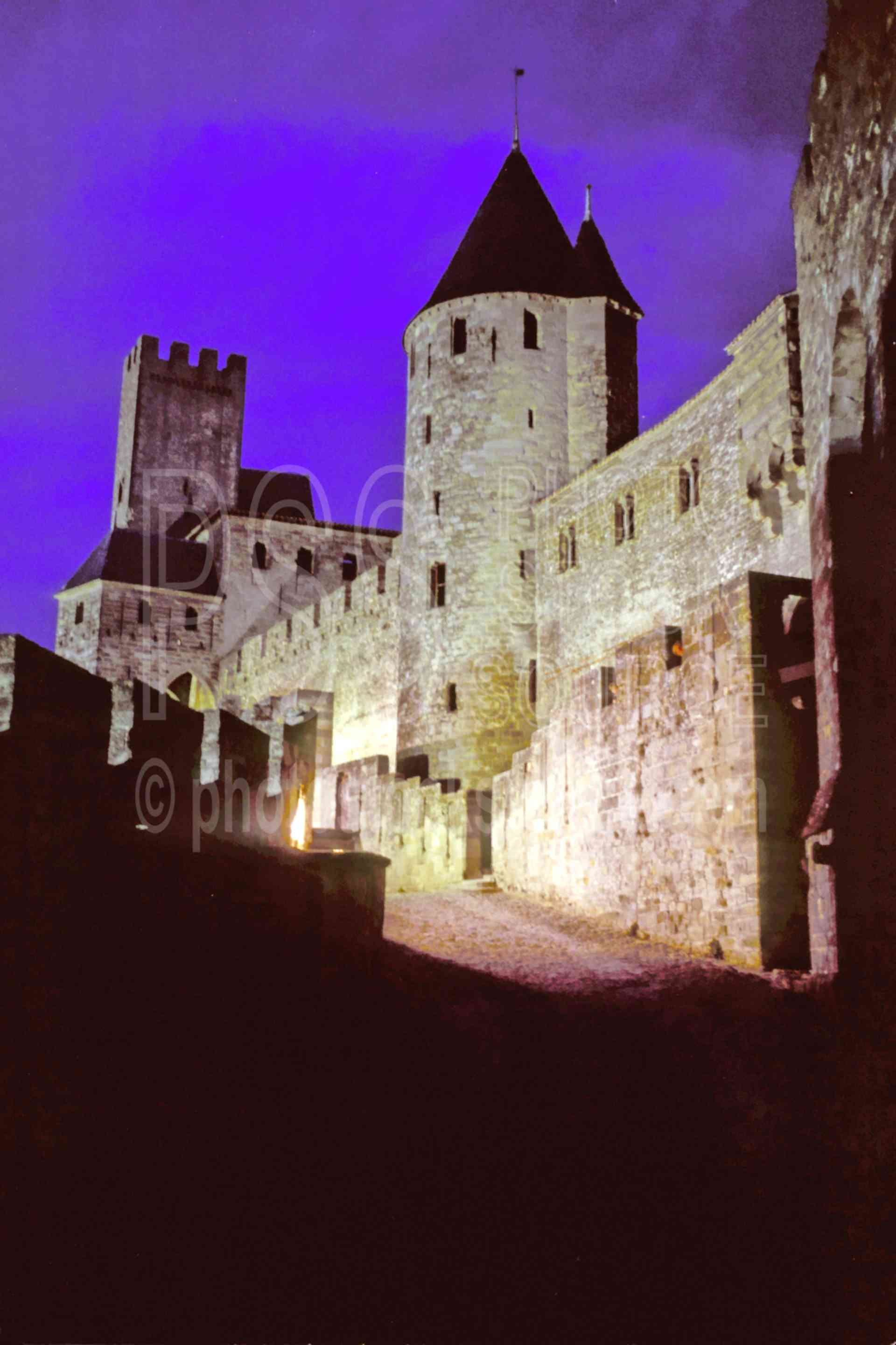 City at Night,castle,europe,medieval,night,road,wall,france castles