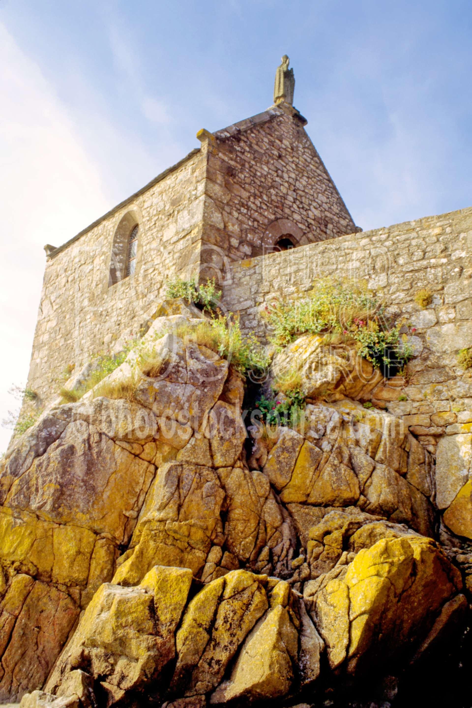 Chapel of Saint Aubert,castle,chapel,city,europe,island,la chapelle saint aubert,wall,walled city,cities,castles