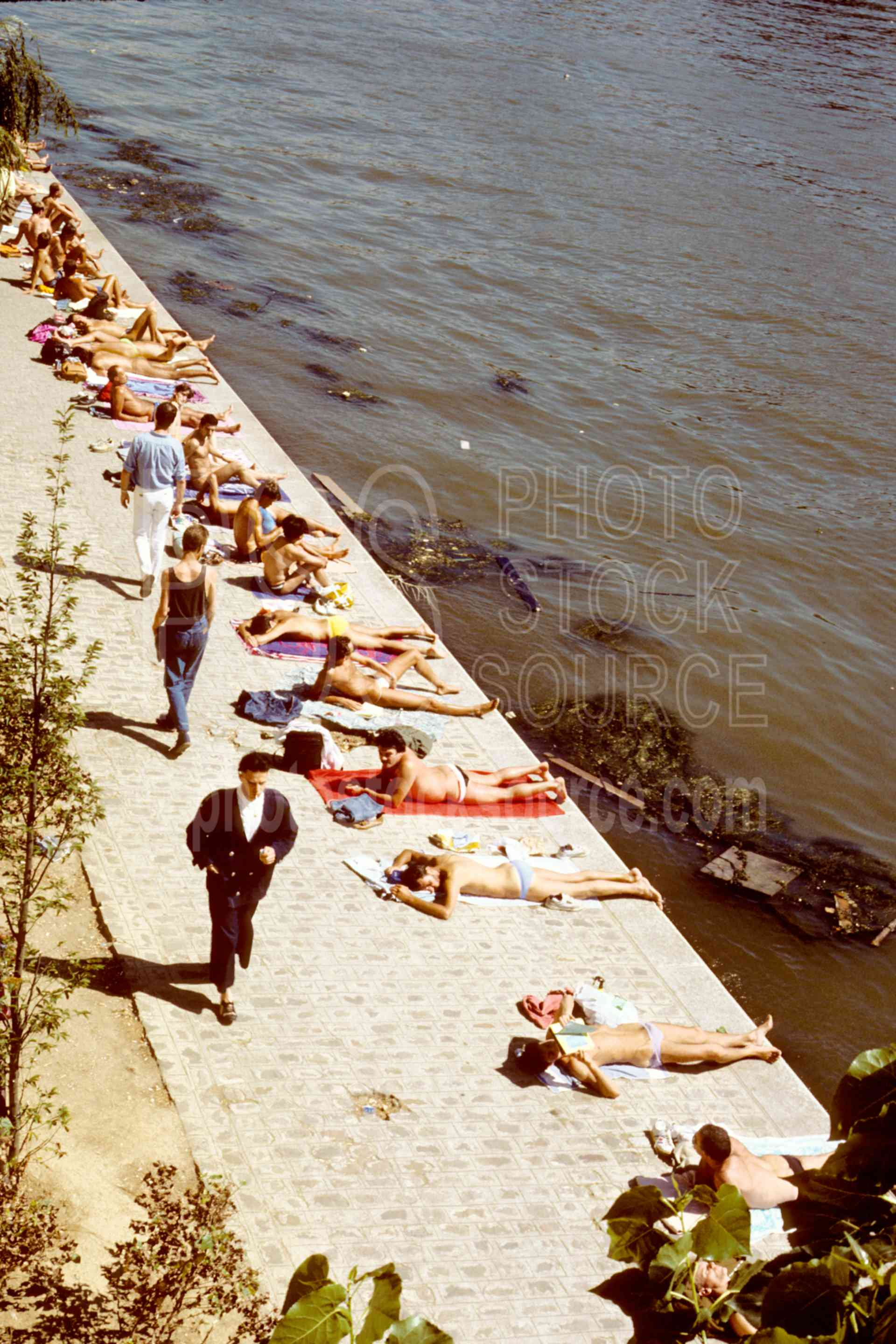 Sunbathers on the Siene,europe,sunbathing