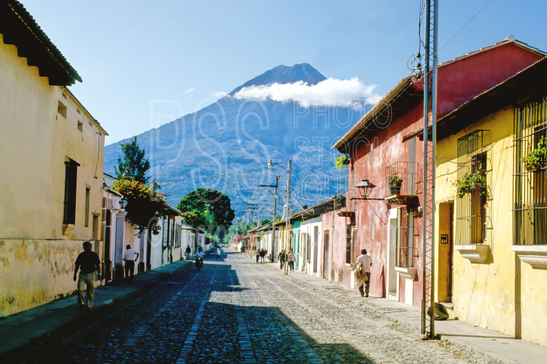 Agua Volcano,street,volcano,mountains