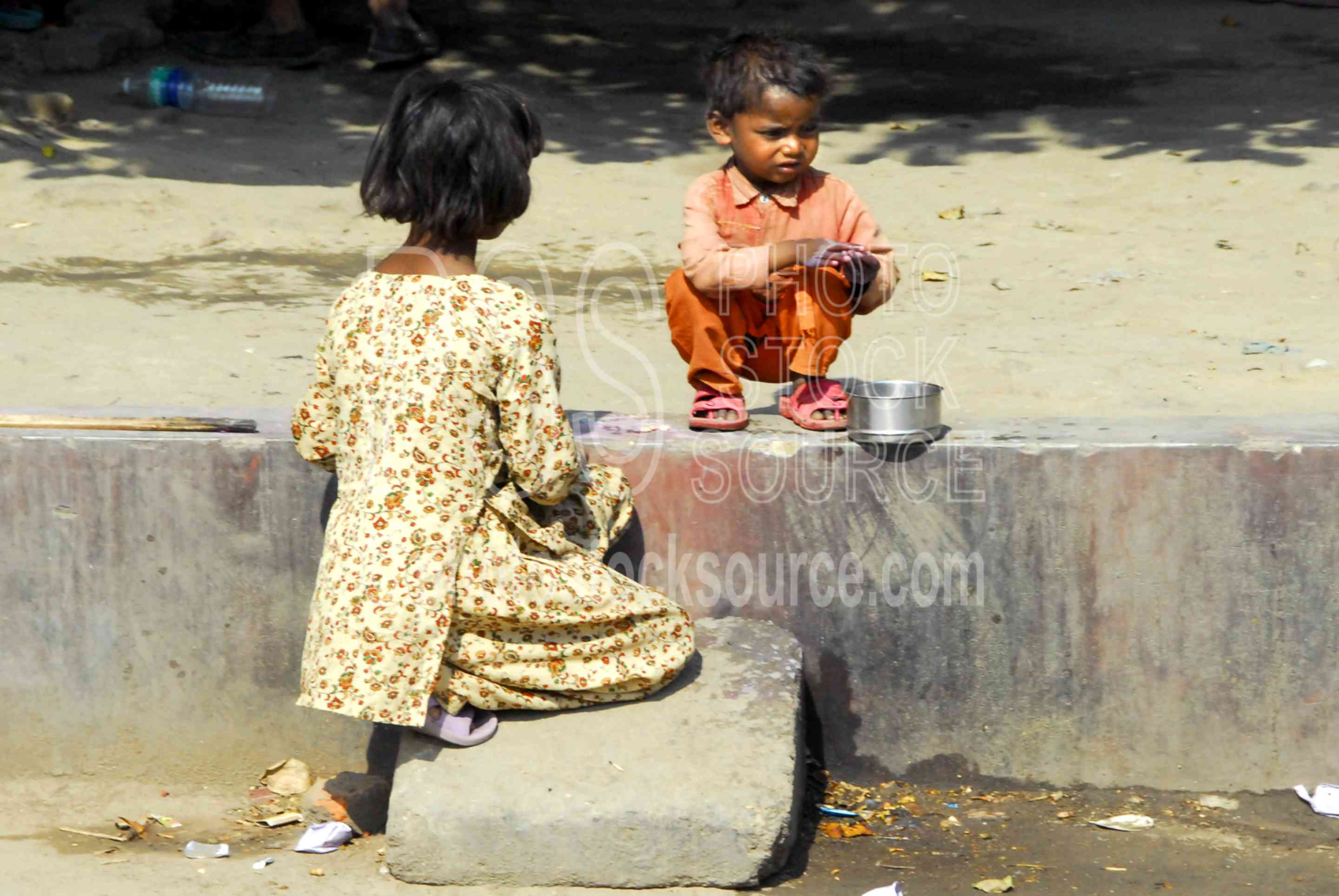 Children Playing on a Curb,kids,child,children,playing,street,curb