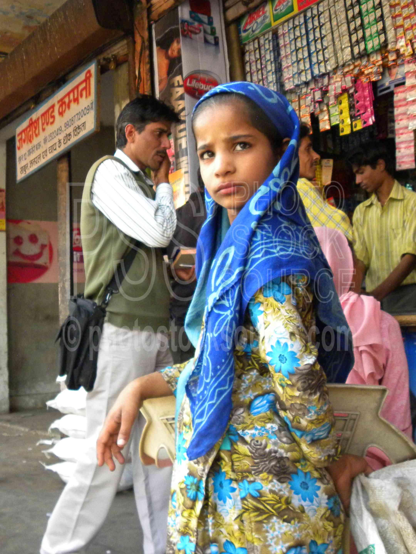 Girl in Blue Scarf,girl,child,blue,scarf,market