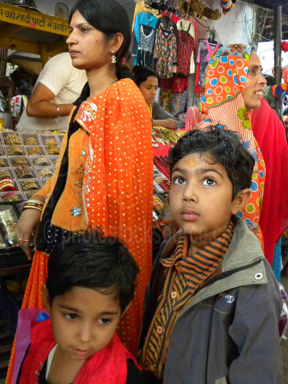 Children in the Market,woman,shopping,bangles,children