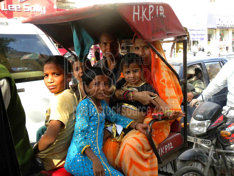 Beautiful Family,transportation,rickshaw,family,children,husband,wife,child,smile