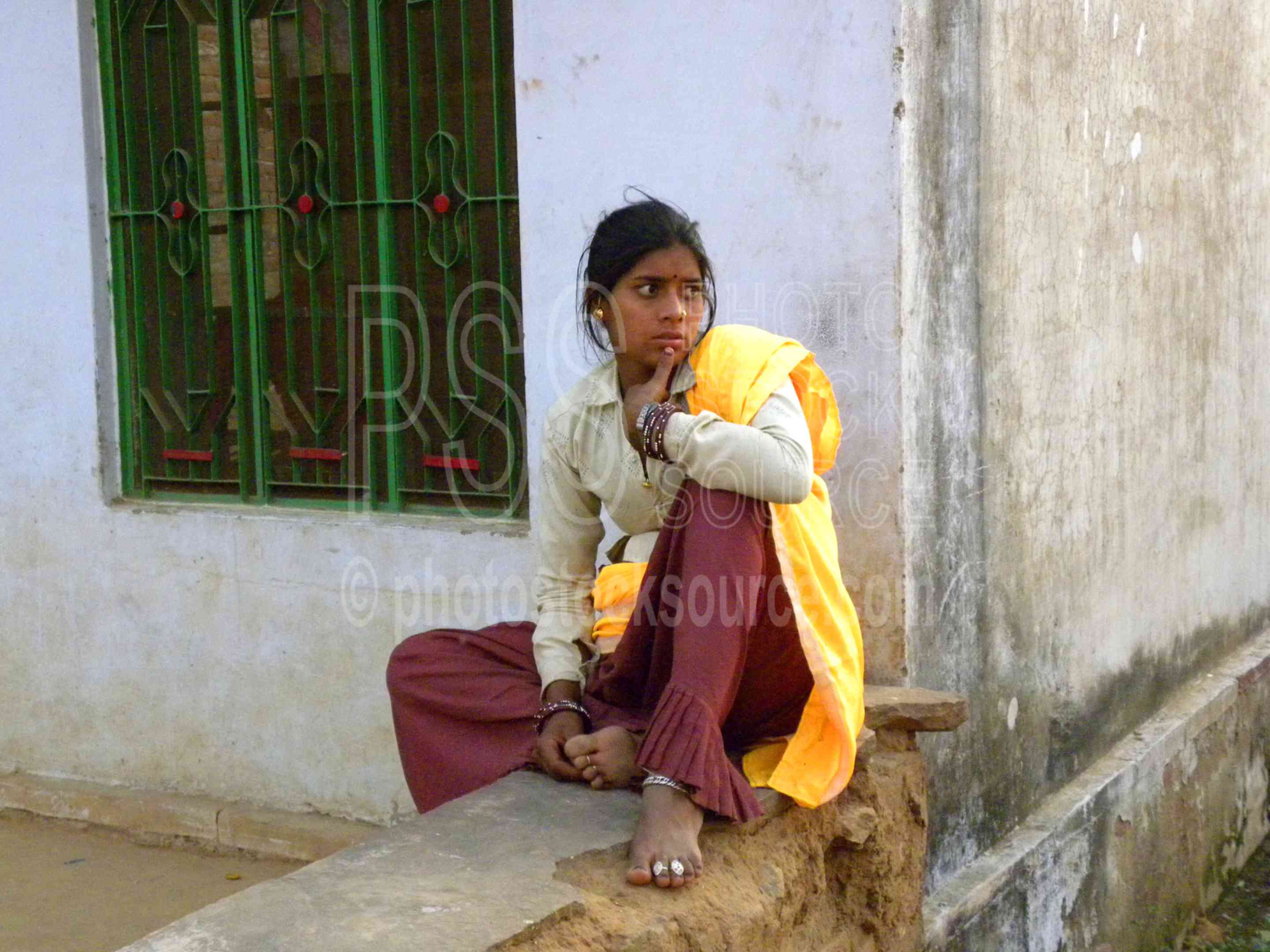 Woman Sitting on Wall,woman,young,colorful