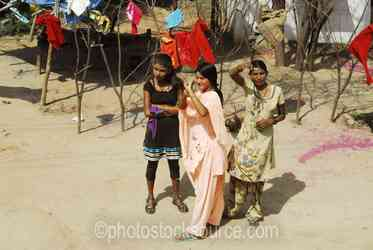 Child Prostitutes - Child prostitutes working at the truck stop on the Rajasthan-Uttar Pradesh border on the road to Agra