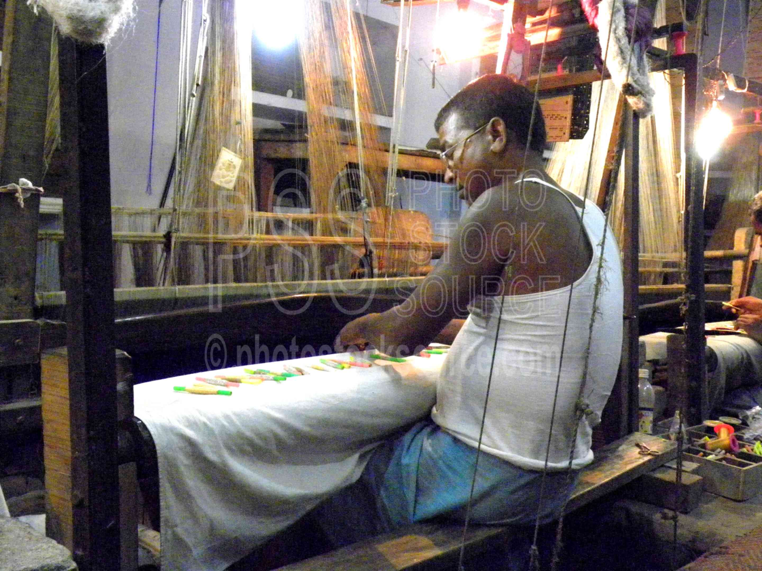 Photo of Silk Weaver on Jacquard Loom by Photo Stock Source