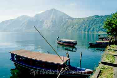 Boats on Lake Batur - Boat son Lake Batur in the caldera in the center of Bali
