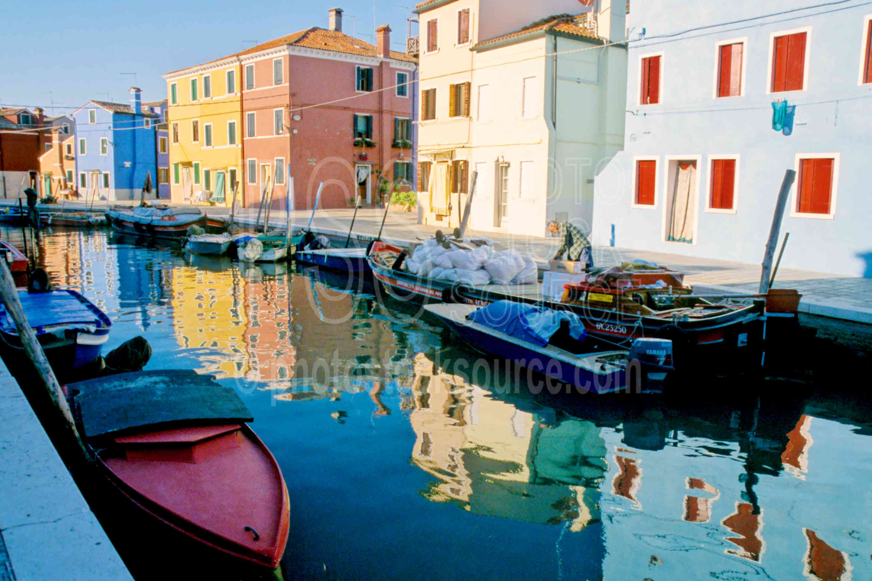 Canal Reflections,canal,color,europe,house,reflection,italy boats