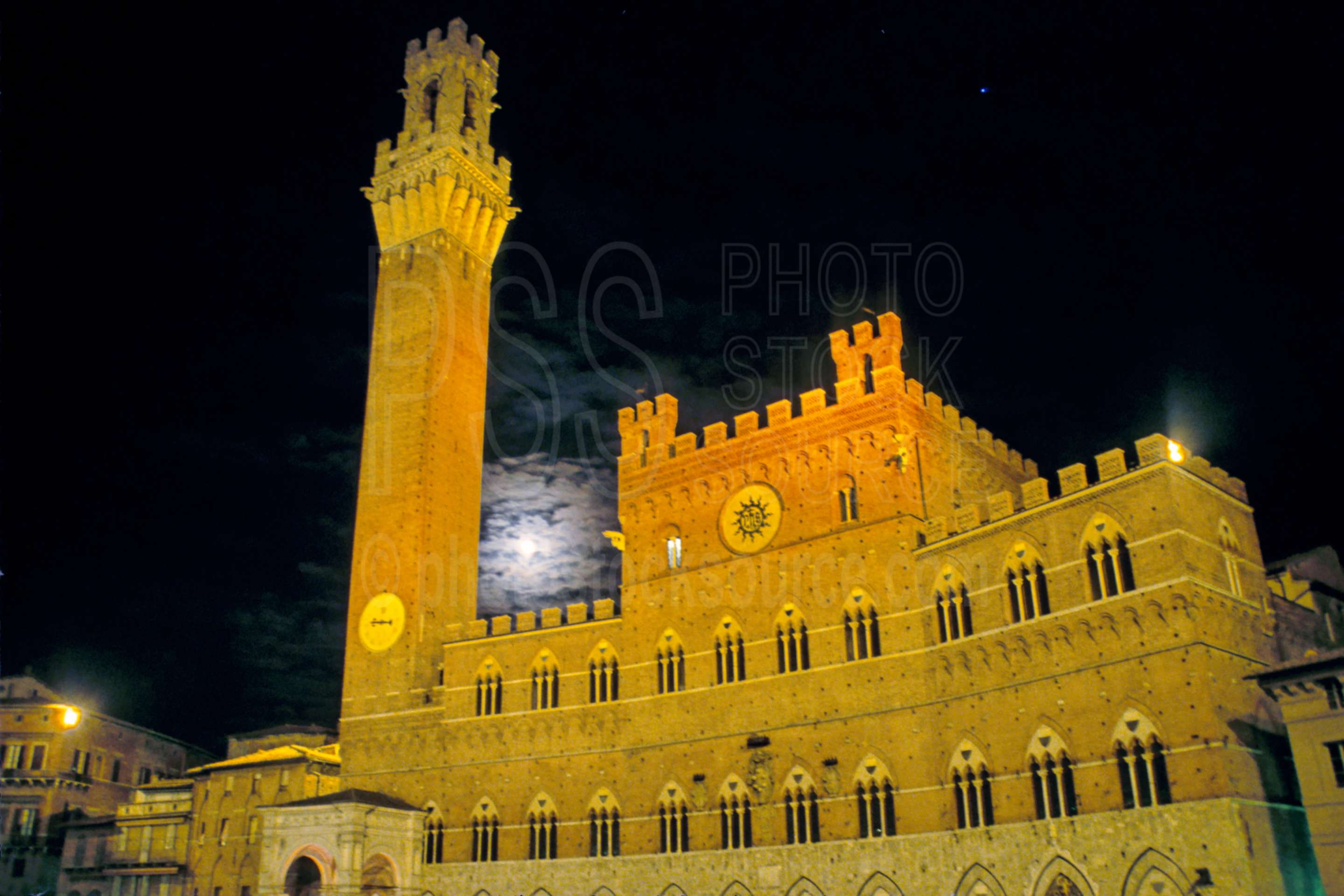 Town Hall and Moon at Night,europe,mangia tower,moon,night,tower,town hall
