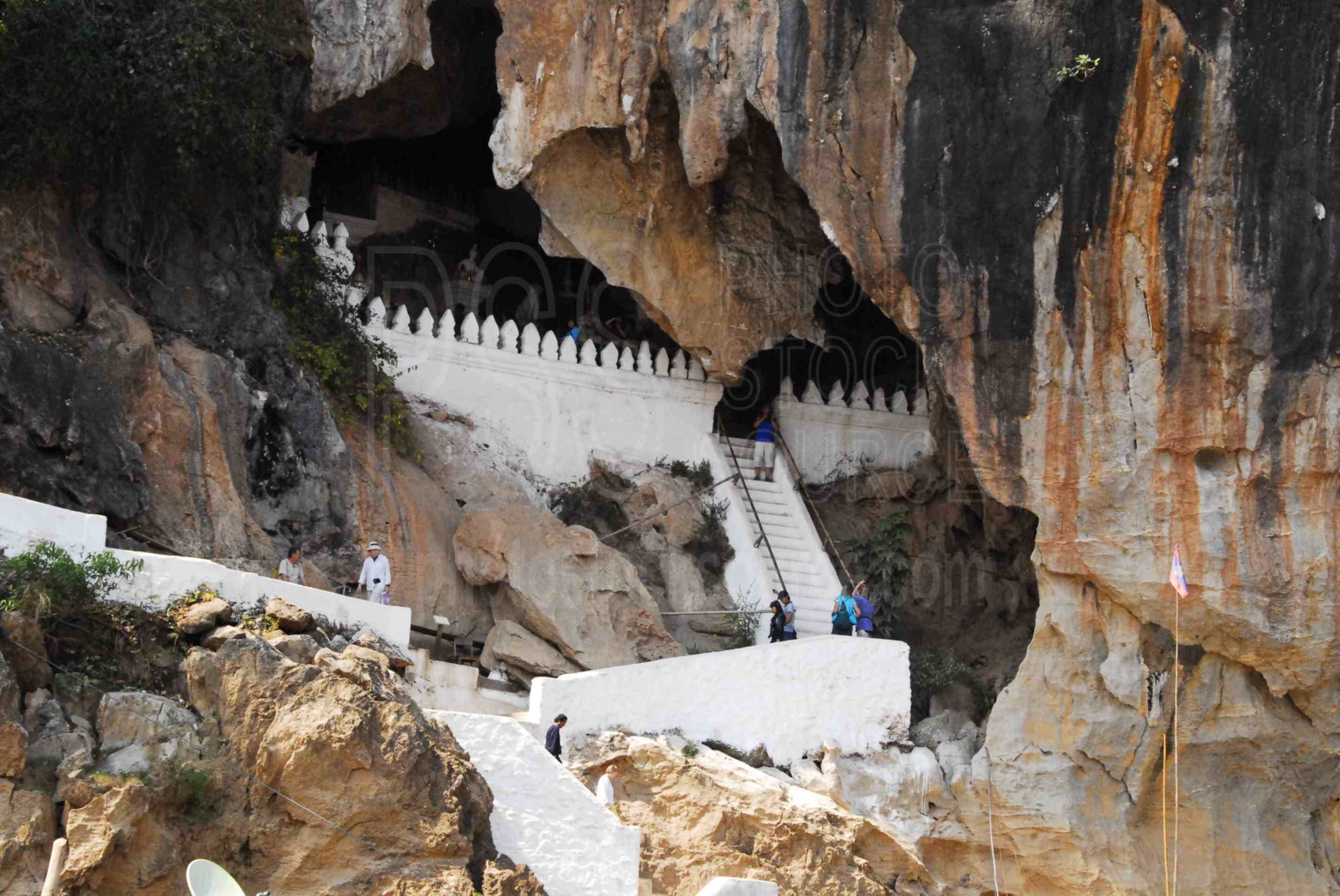 Pak Ou Caves Staircase,boat,transportation,transport,mekong,mekong river,river,cave,shrine,buddha,figures,statues,temple