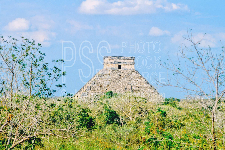 El Castillo from the Observato,el castillo,pyramid,temple,temples