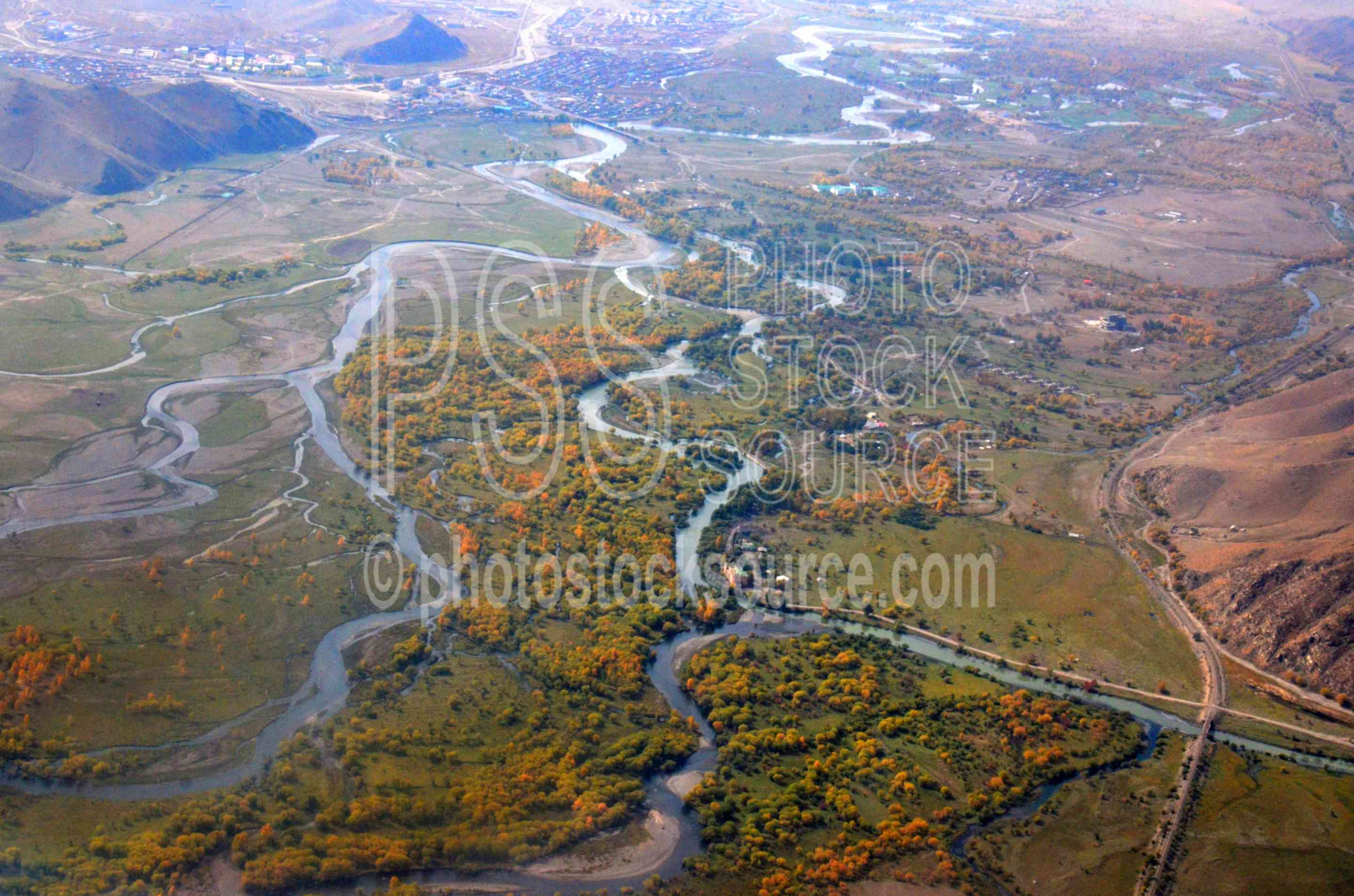 Flying Over Tuul River,aerial,river,meanders,tuul,transportation