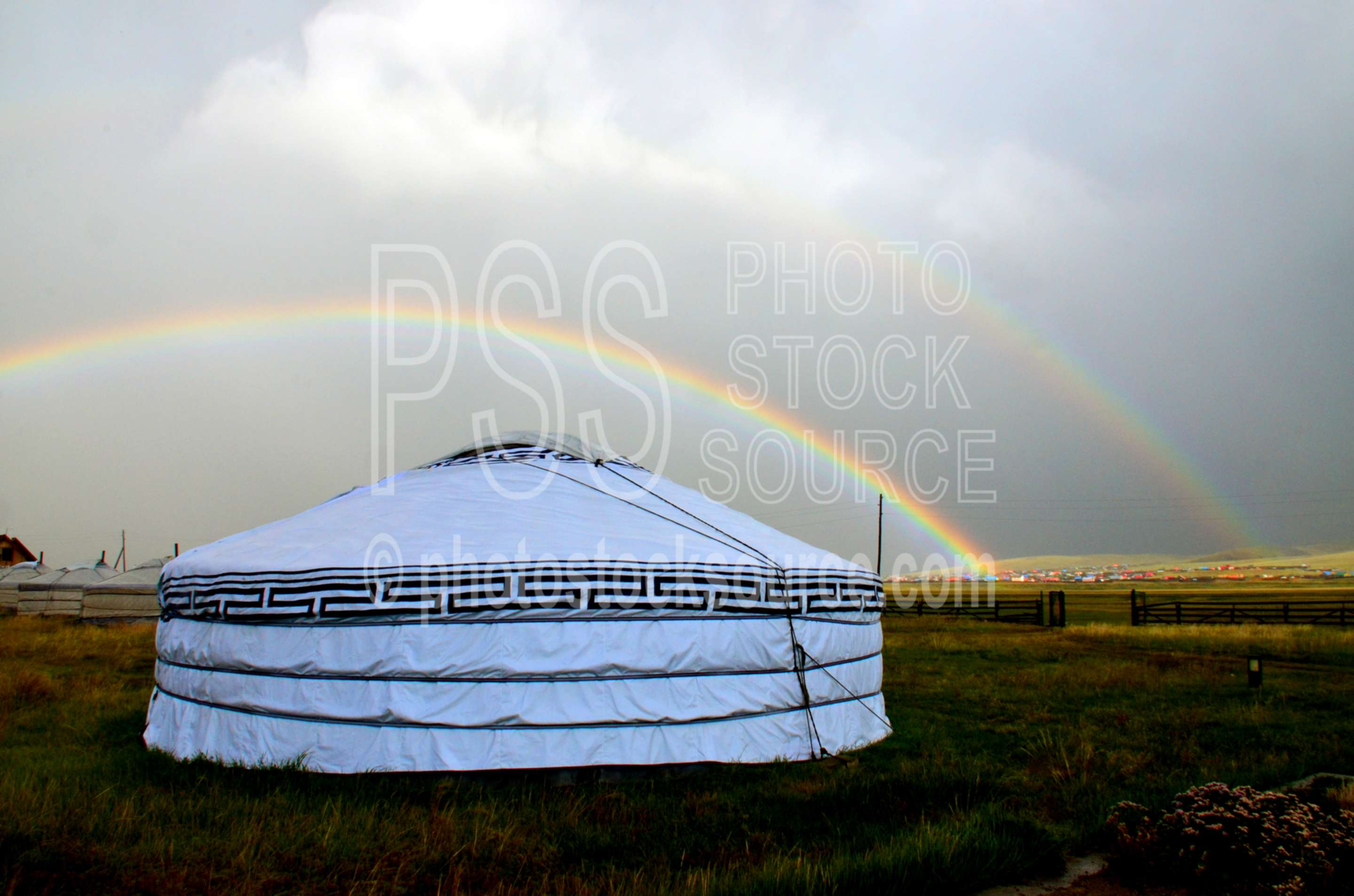 Double Rainbow over Ger,rainbow,ger,yurt,house,clouds,thunderstorm,weather,climate,shelter,dwellings