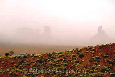 Monument Valley Dust Storm - A dust storm moving through Monument Valley