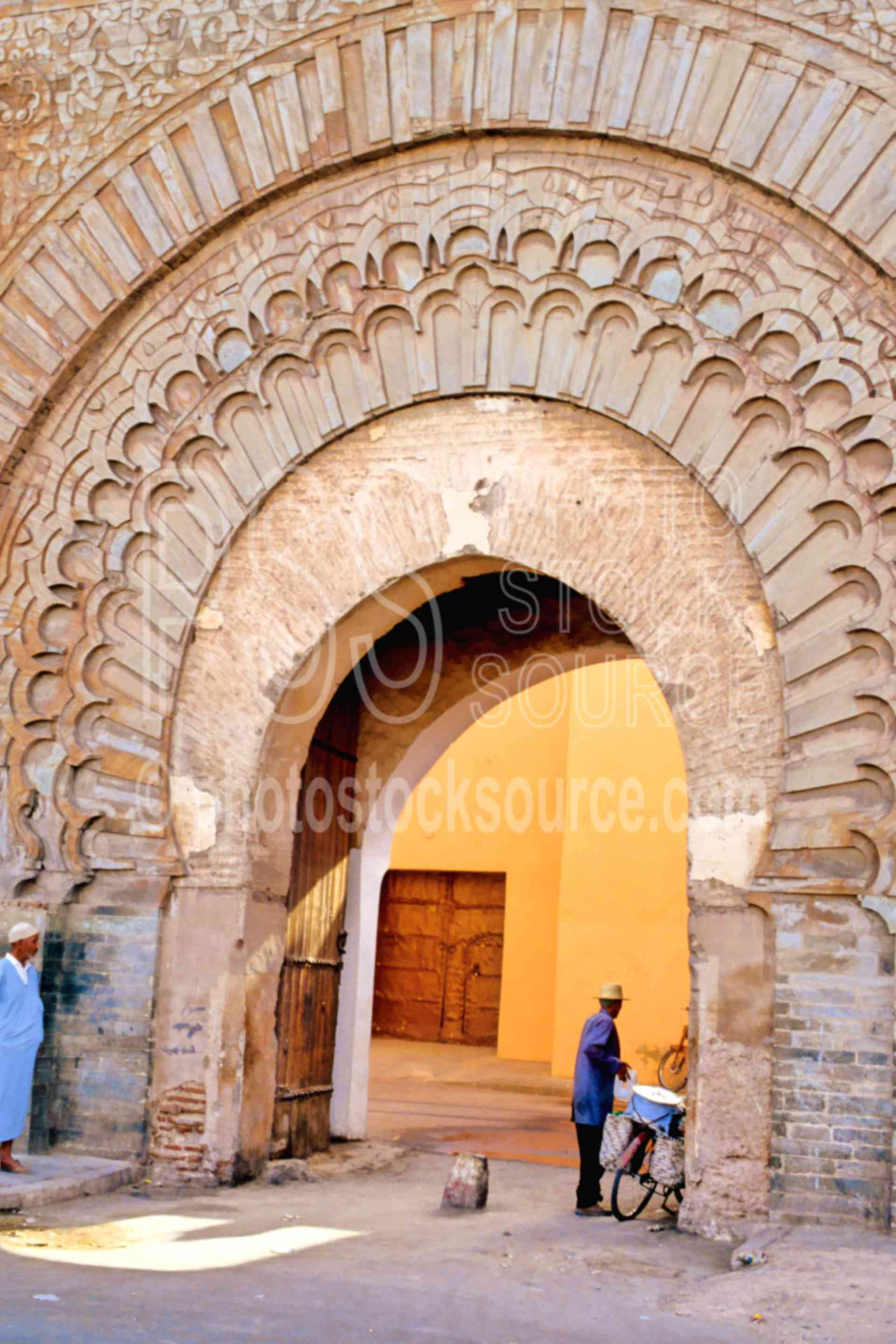 Bab Agnaou Gate,arch,door,gate,people,streets,wall