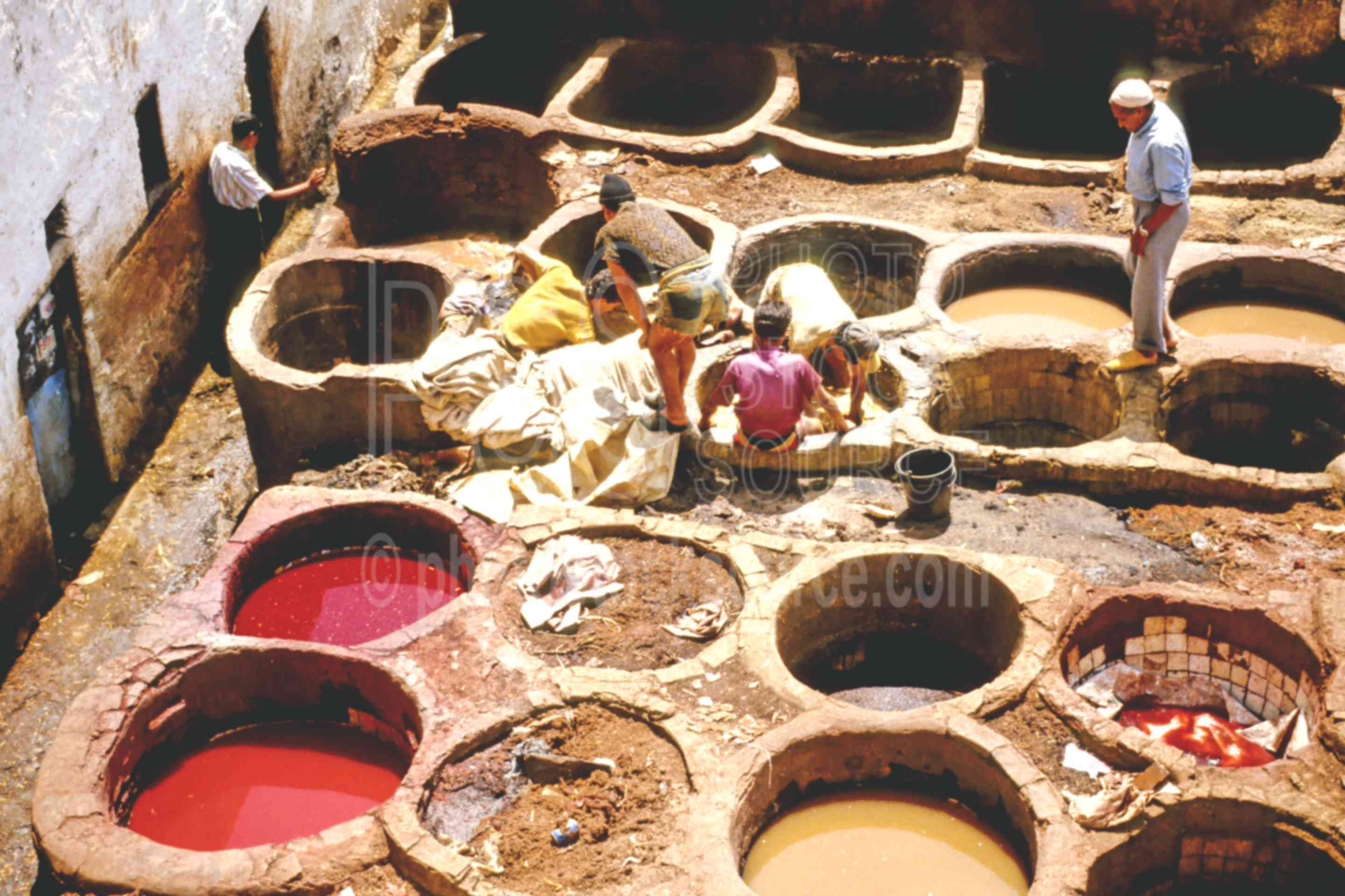 Vats in the Tannery,fezs,mens,skins,tannery,work,worker,fezs