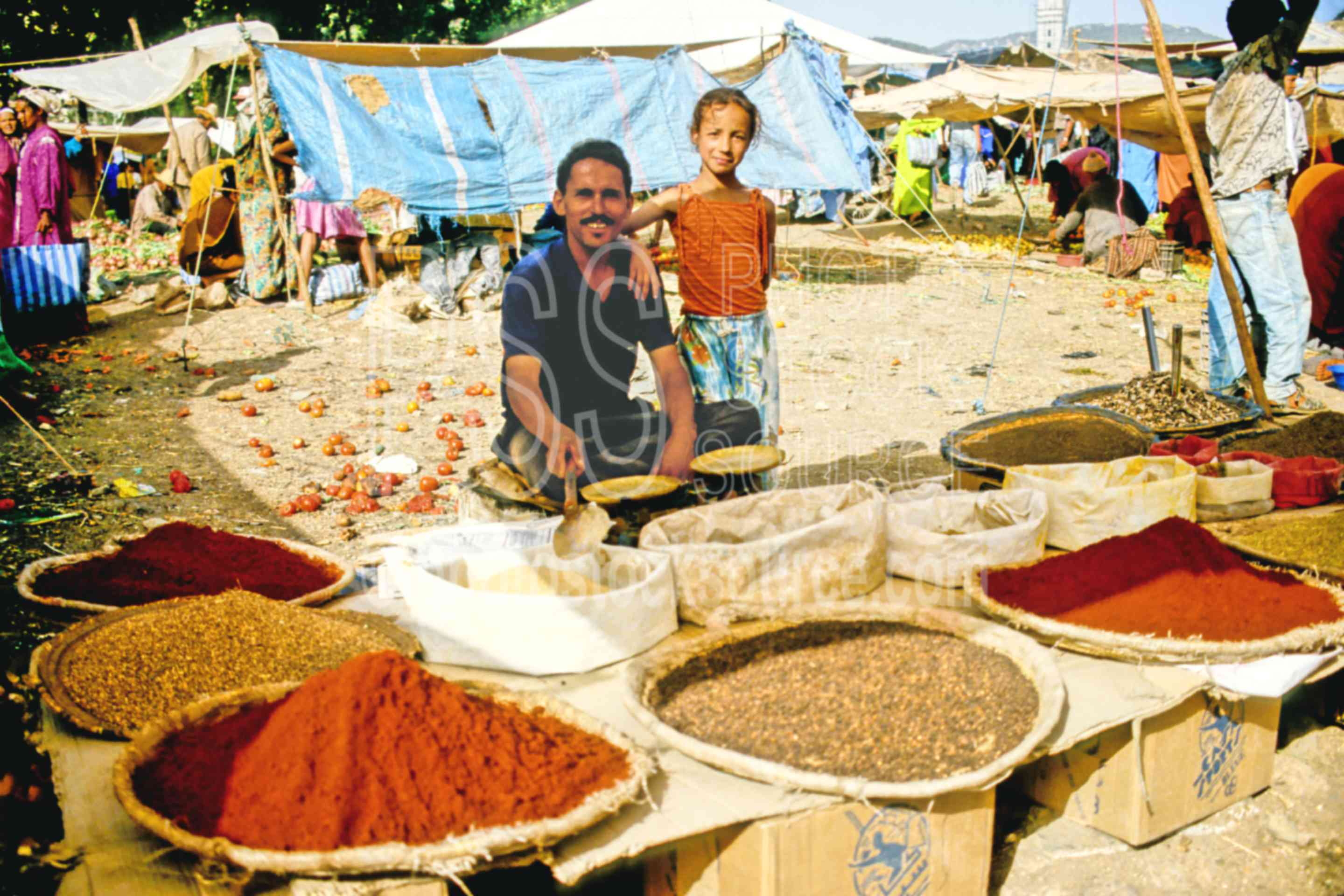 Spice Sellers,child,daughter,father,mans,market,sell,spice,morocco markets,children