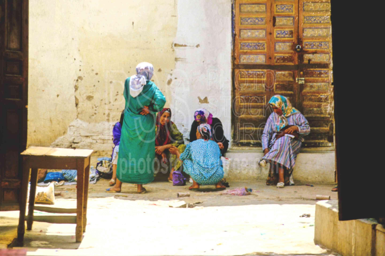 Women Visiting,alley,djellaba,street,women,morocco markets