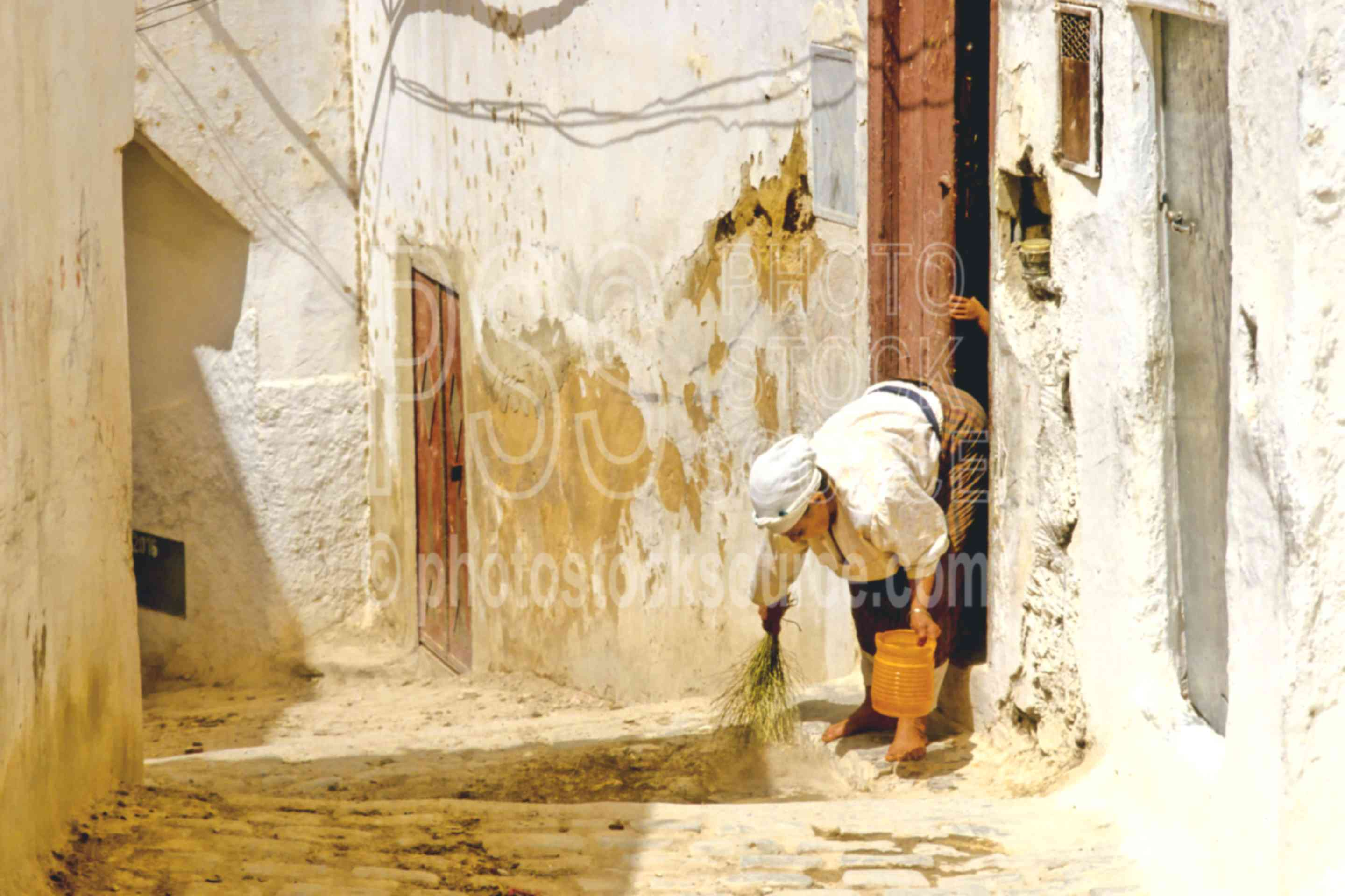 Cleaning the Step,alley,street,woman