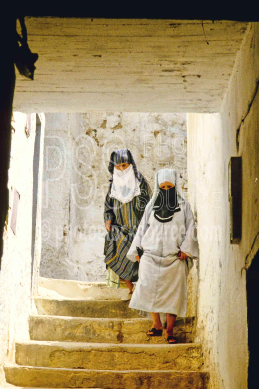 Walking down Steps,alley,steps,street,women