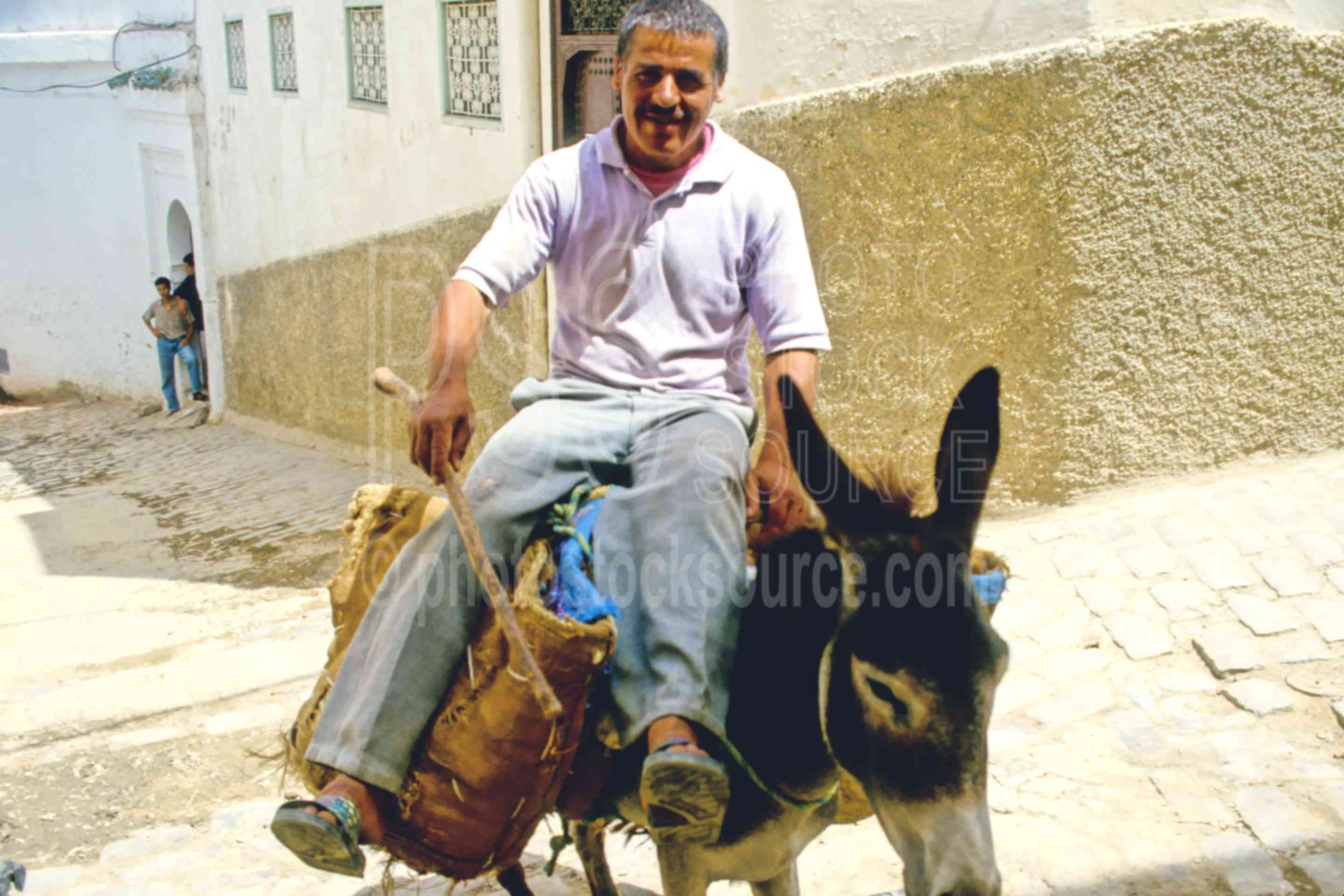 Riding up the Hill,alley,donkey,mans,riding,street,animals