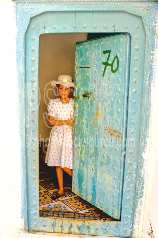 Girl in Doorway,door,dress,girl,doors windows,children