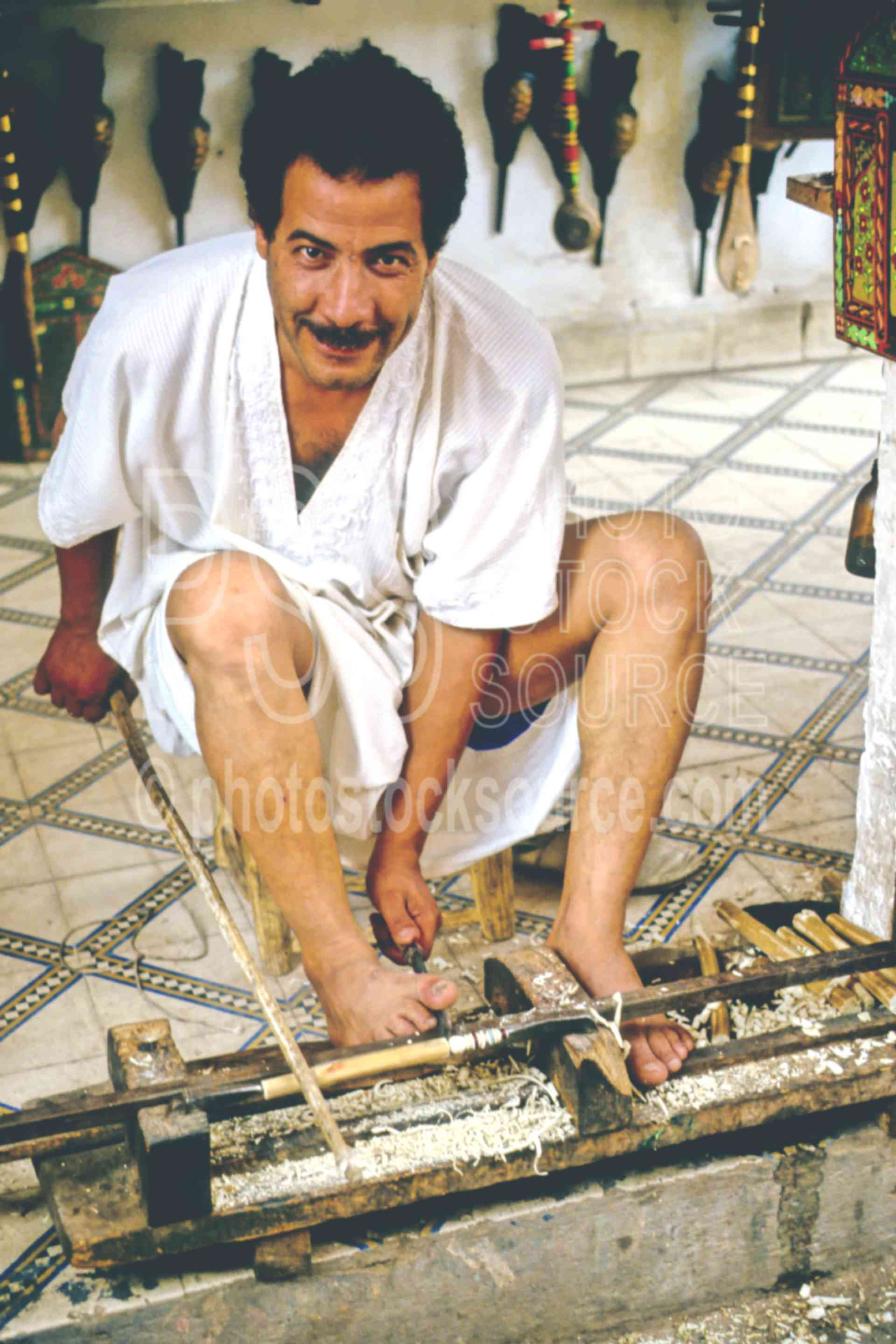 Foot Lathe,artist,carve,lathe,mans,work,worker,tools instruments,morocco markets