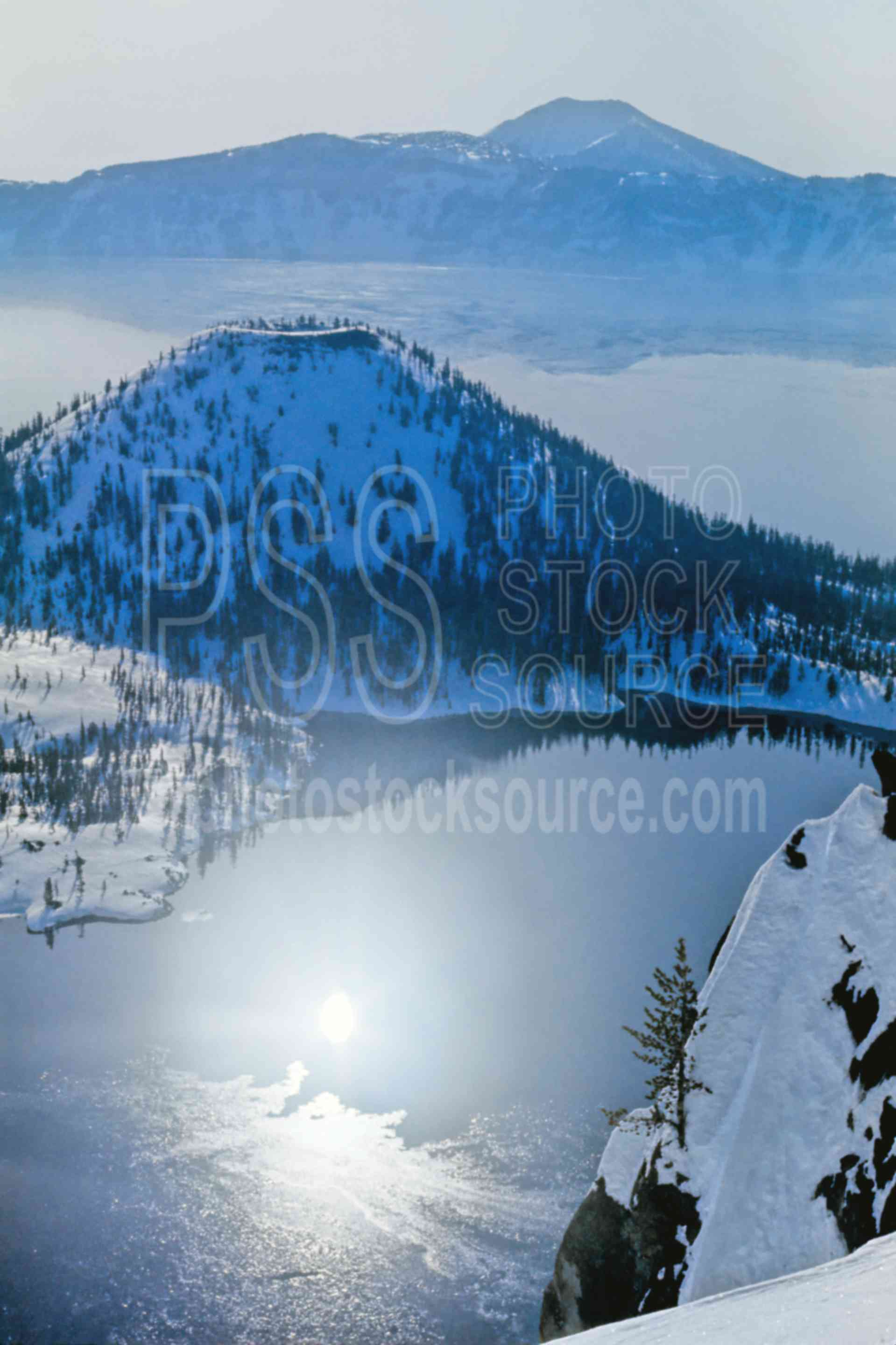 Crater Lake,snow,winter,lakes rivers,national park,nature