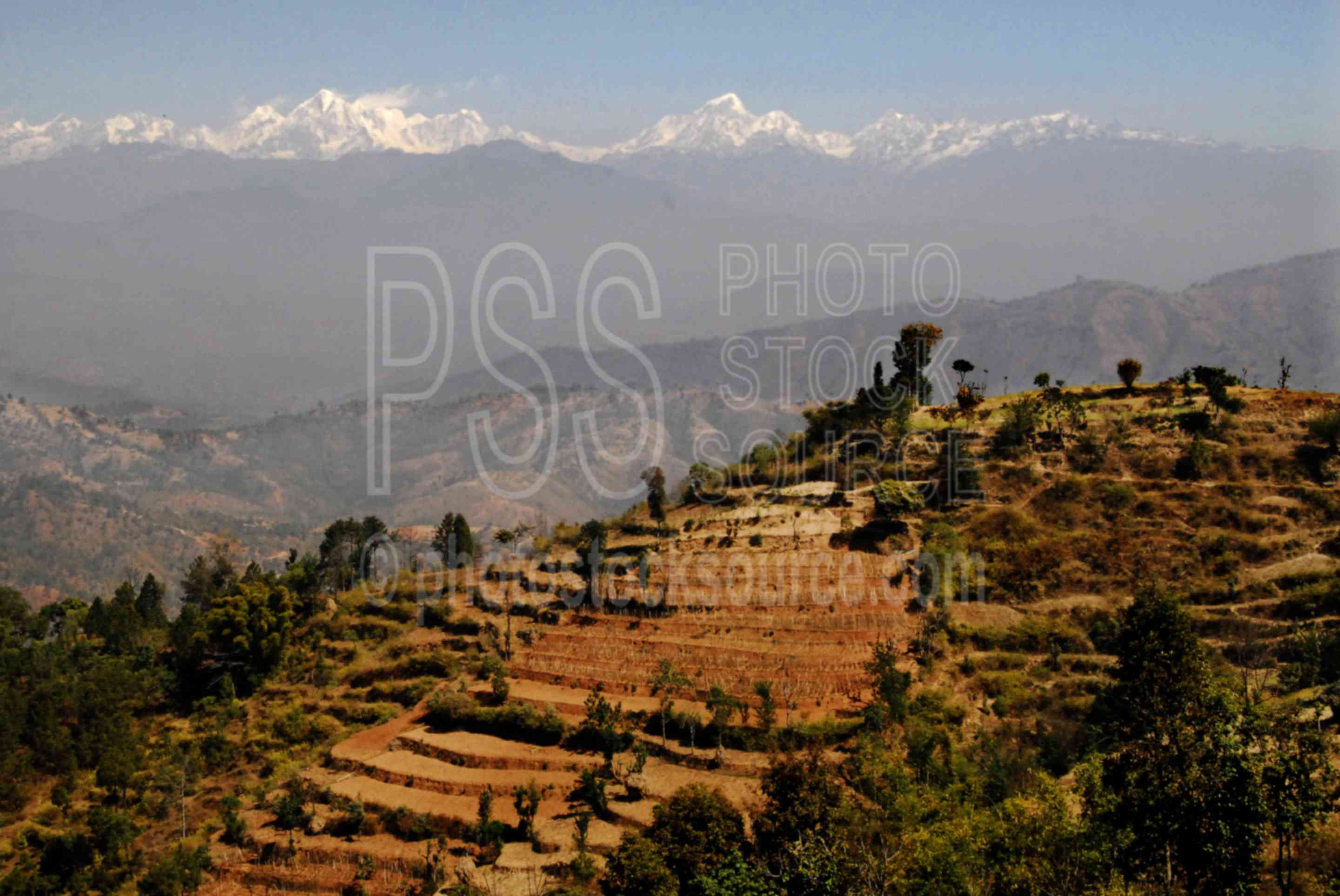 Terraced Foothills,mountains,snow capped,peaks,dorje lhakpa,phurbi chyachu,nature