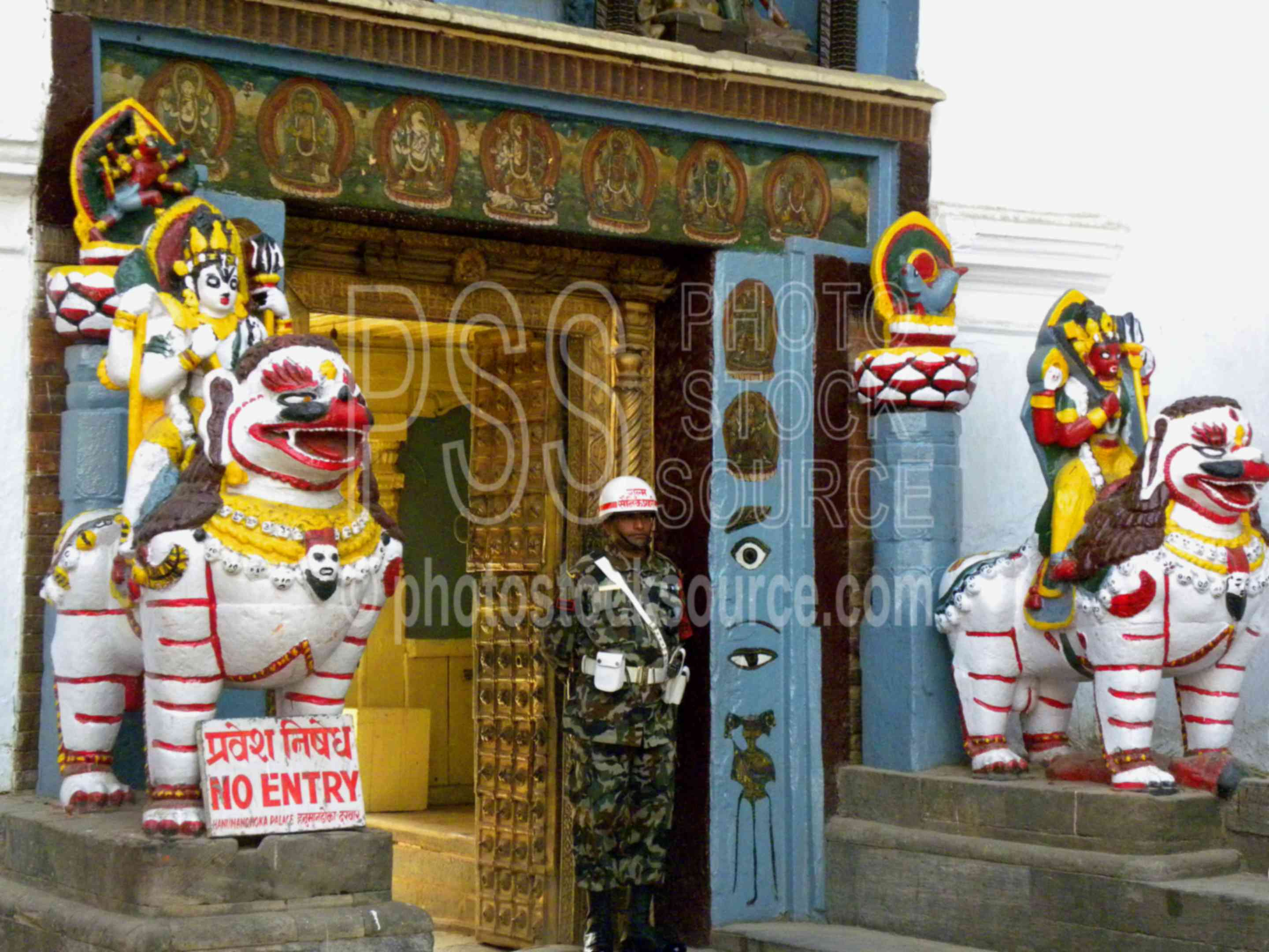 Hanuman Dhoka Palace Entrance,temple,religious,courtyard,statue,hanuman,shrine,candles,offerings,temples