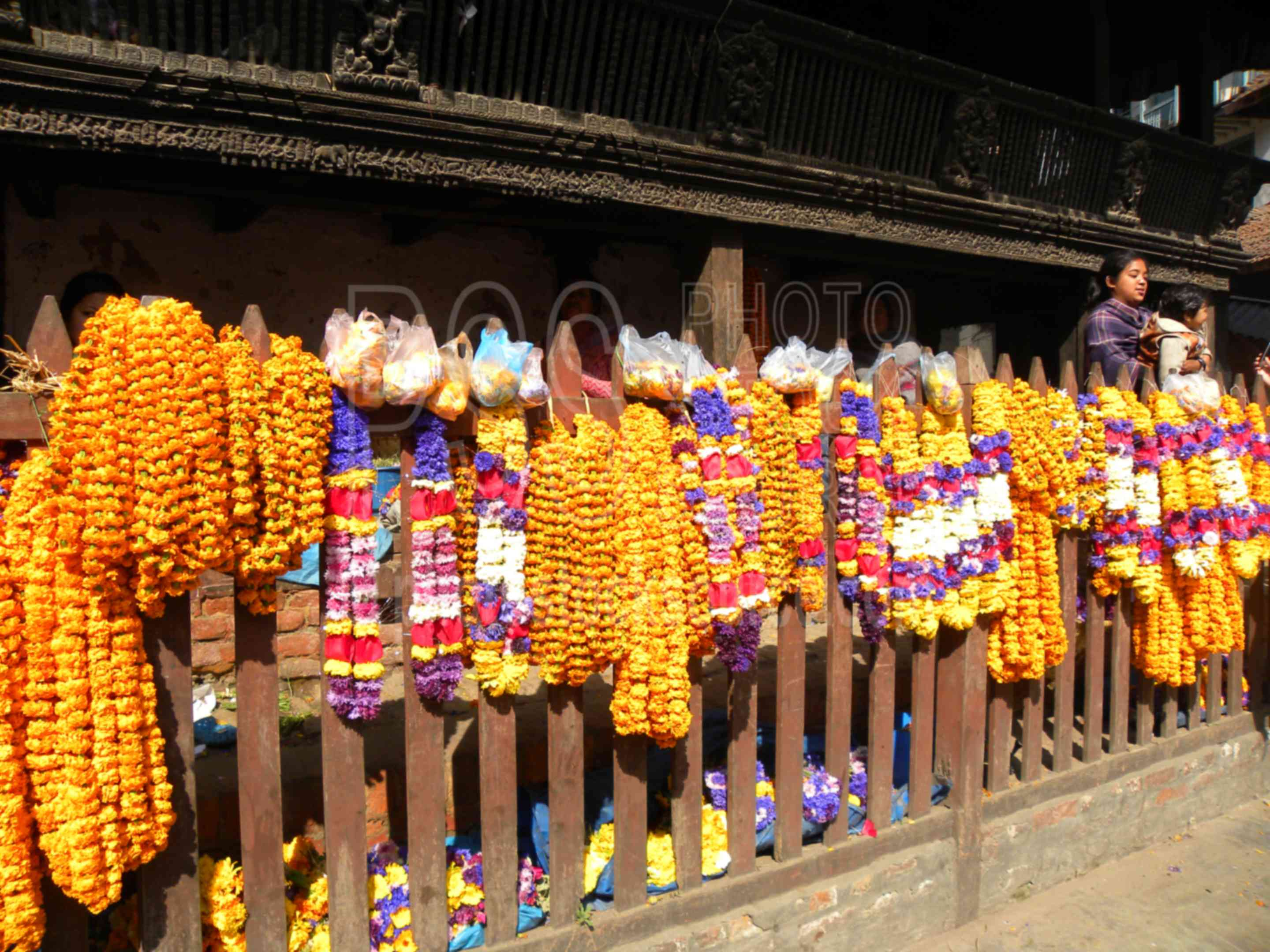 Ceremonial Flower Garlands,celebration,festival,colors,flowers,garlands,vendor,sale,temple,temples,plants