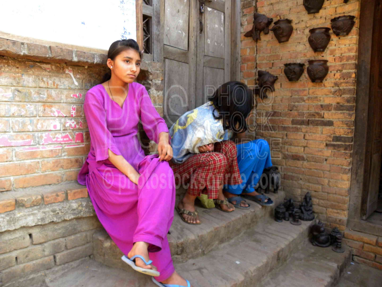 Girl on Steps,people,girl,children,steps,pottery