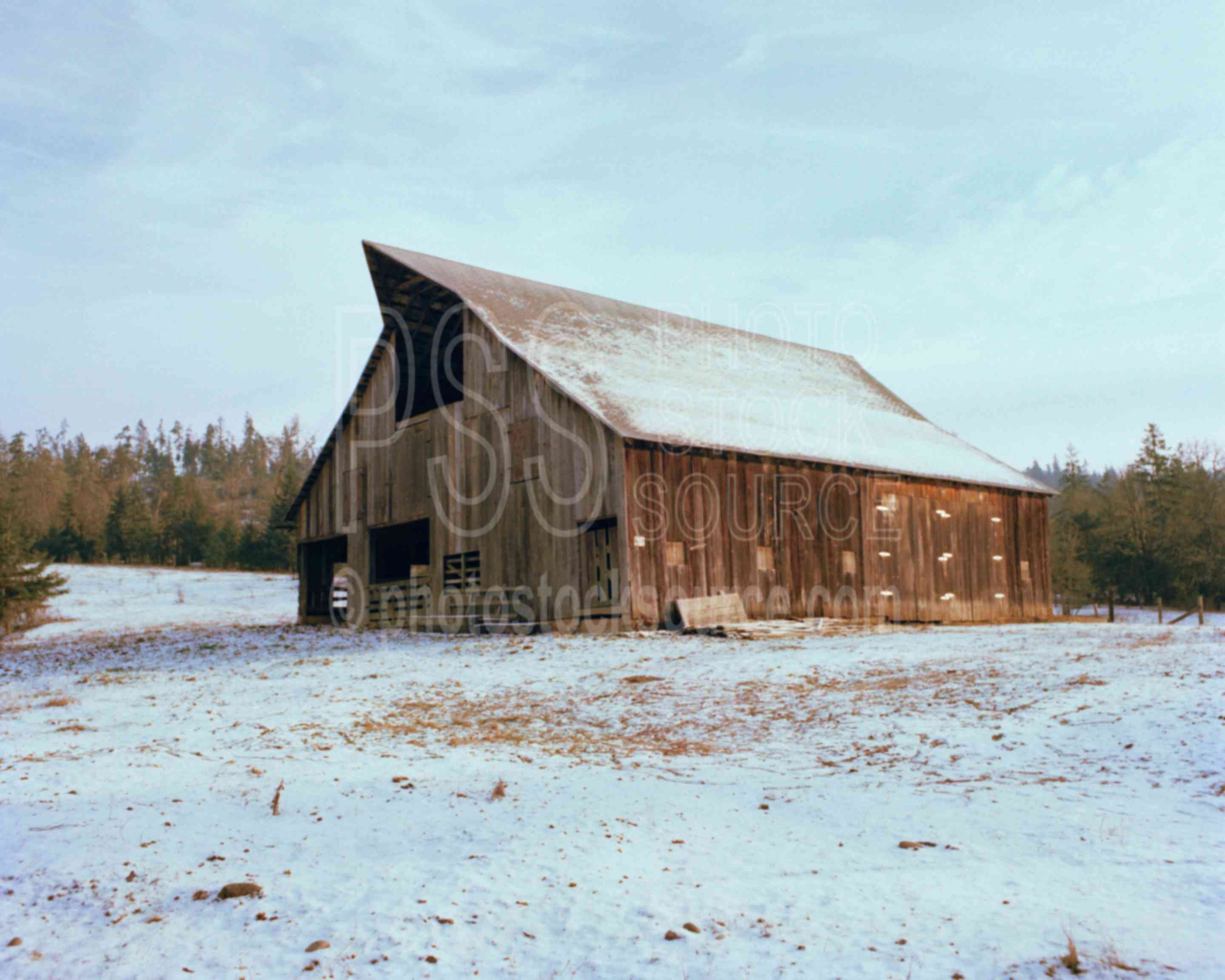 Photo of barn in snow by photo stock source farm lorane for Barn builders oregon
