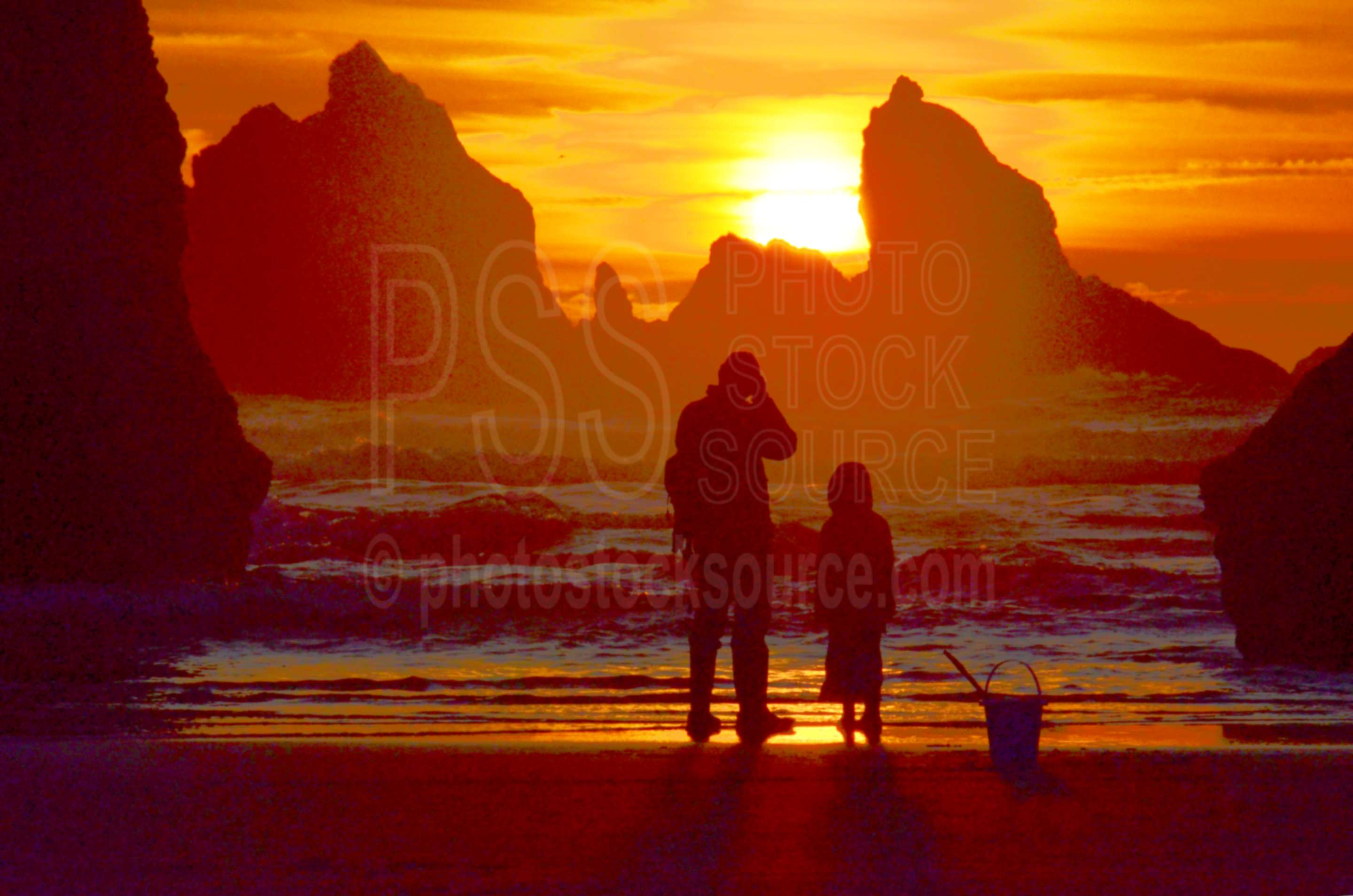 Sea Stacks at Sunset,sea stack,rock,beach,sunset,man
