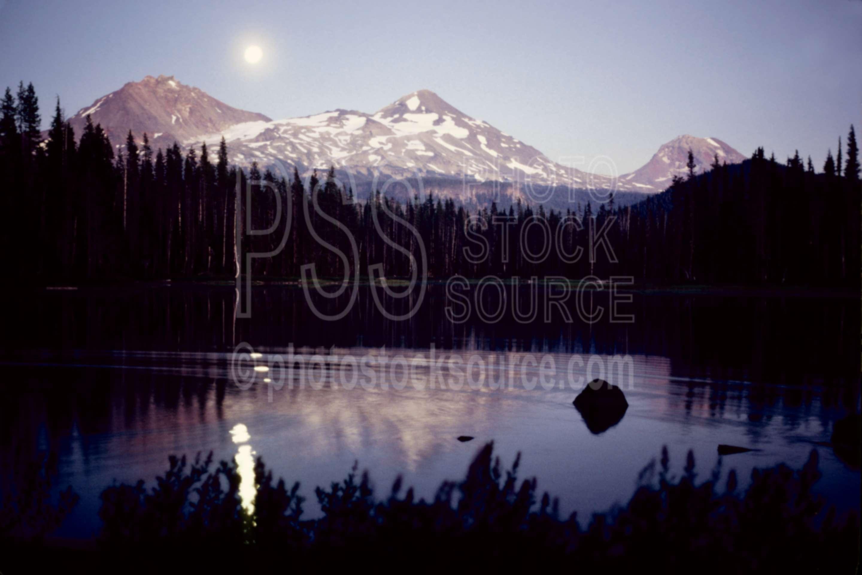 Three Sisters Moonrise,moon,night,scott lake,three sisters,usas,lakes rivers,mountains