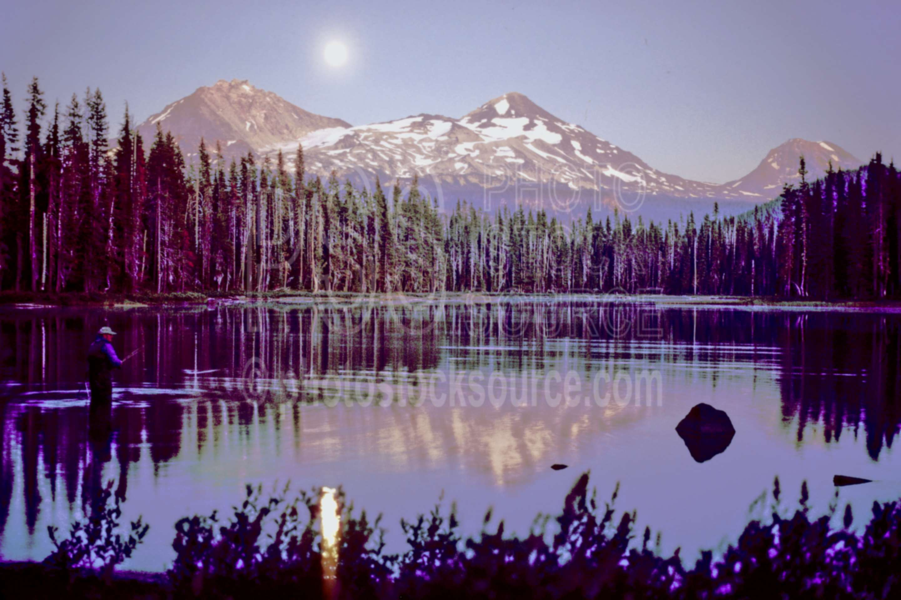 Three Sisters Moonrise,scott lake,moon,moonrise,middle sister,north sister,south sister,lake,night,usas,sun moon sky,lakes rivers,mountains