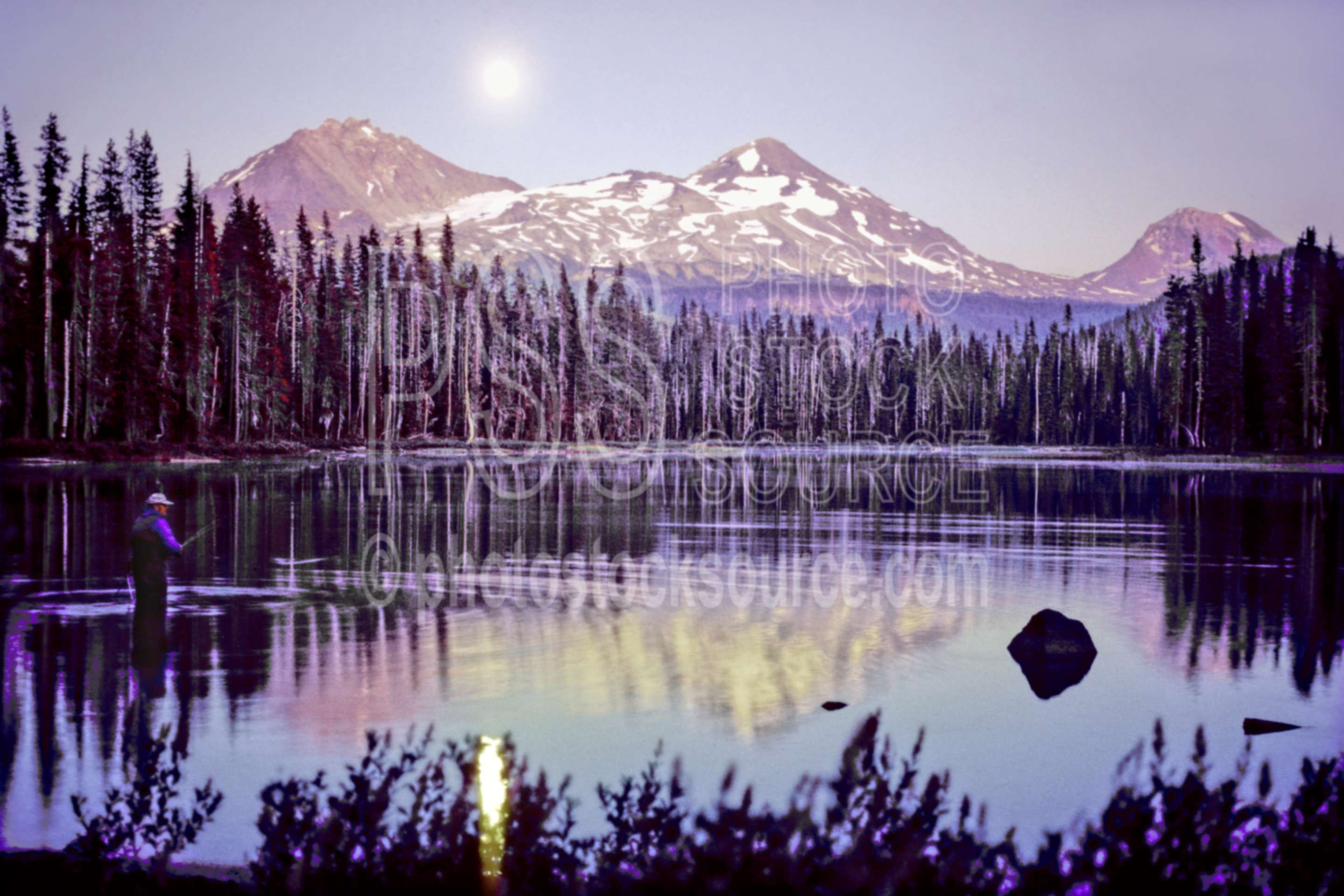 Three Sisters Moonrise,scott lake,moon,moonrise,middle sister,north sister,south sister,lake,night,fisherman,usas,lakes rivers,mountains