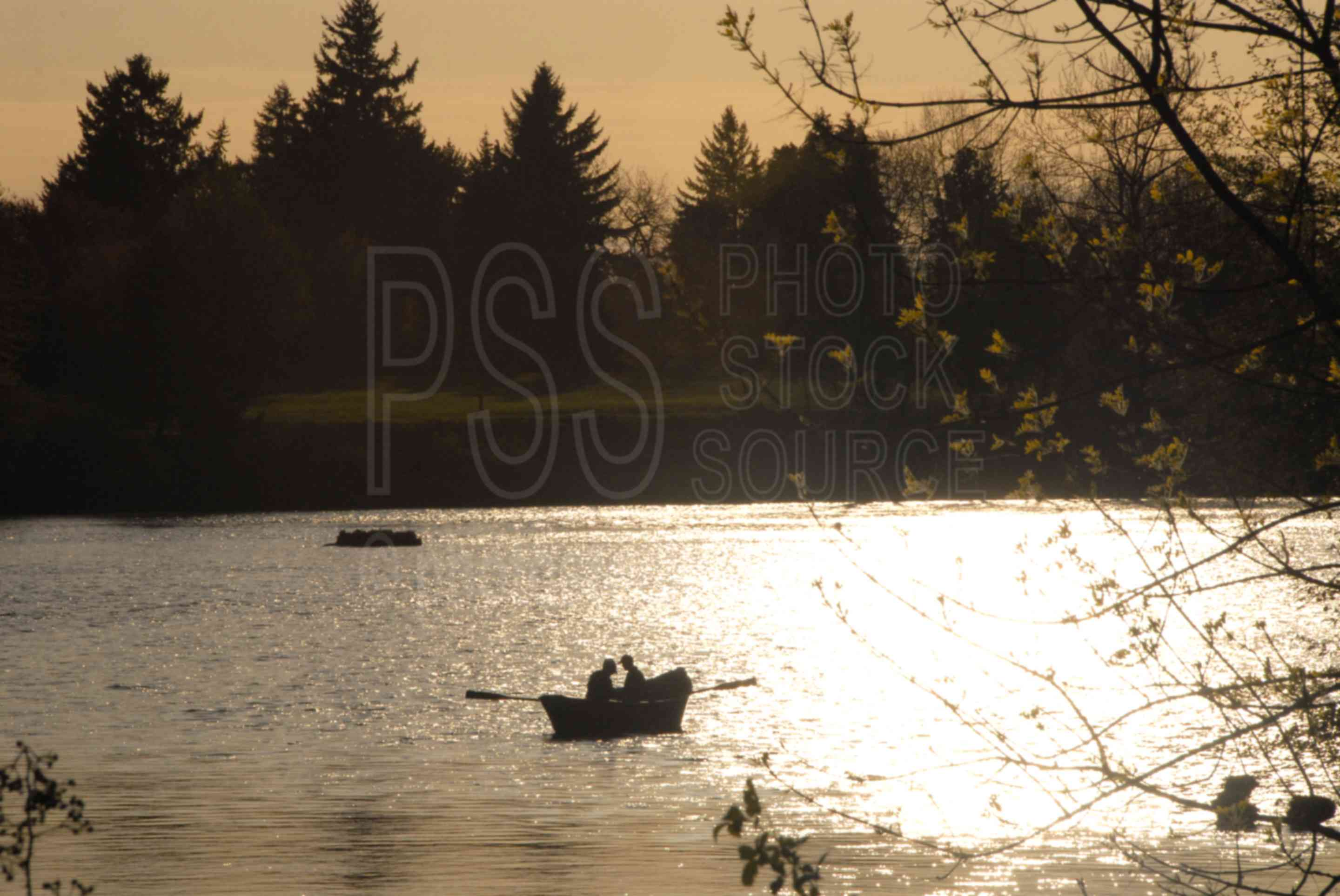 Photo of river boat silhouette by photo stock source for Fishing eugene oregon
