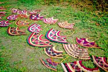 Bilum Bags - Bilum bags displayed on the grass