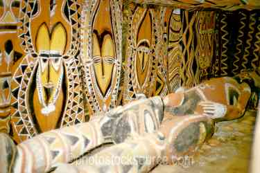 Bark Paintings - Bark paintings inside of a haus tambaran