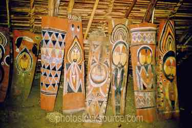 Wooden Carvings - Wooden carvings inside of a haus tambaran