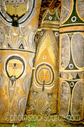 Bark Paintings - Decorated bark paintings inside a haus tambaran