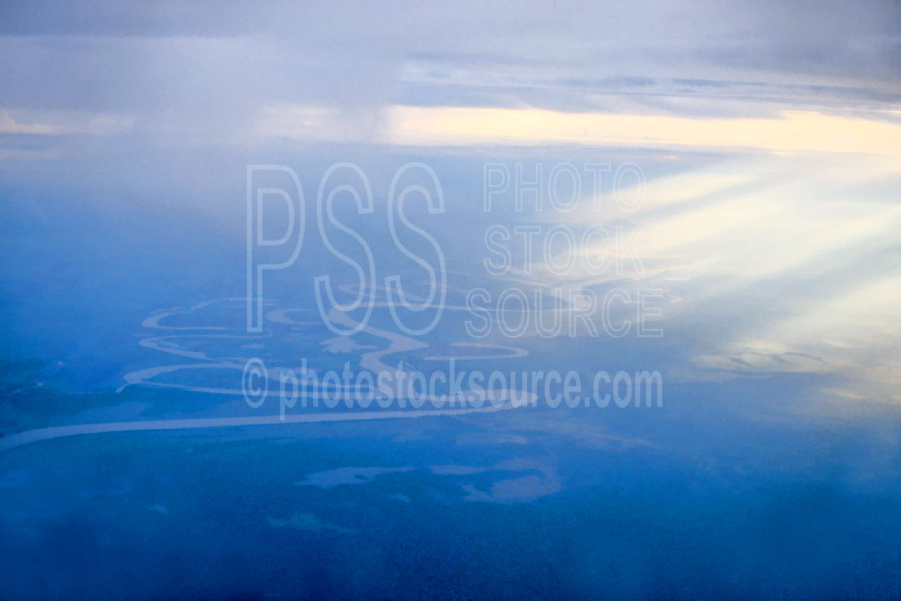 Flying over Sepik River,cloud,flying,rays,river,lakes rivers